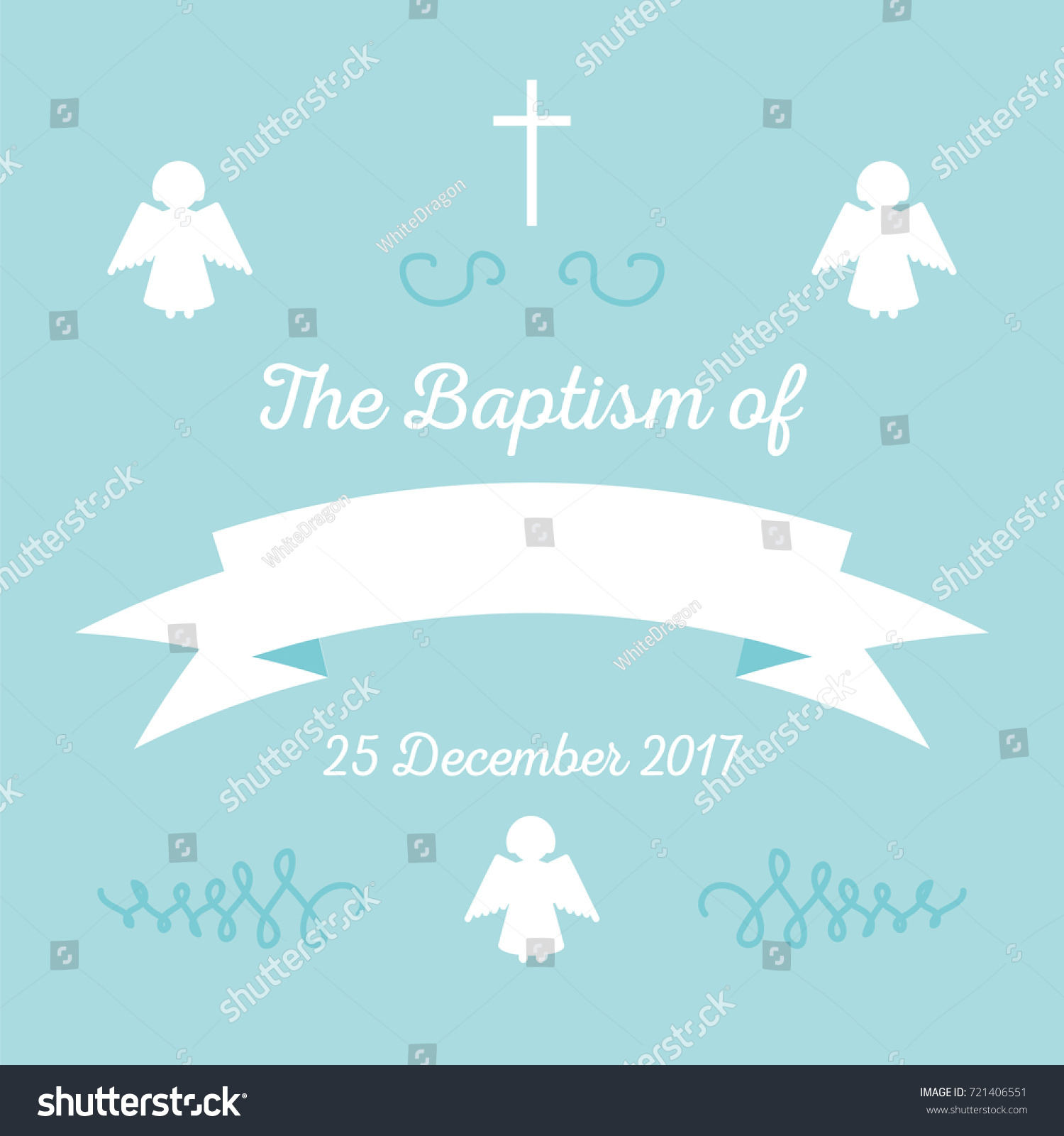 Baptism Invitation Card Template Stock Vector Stock Vector (Royalty Free)  721406551