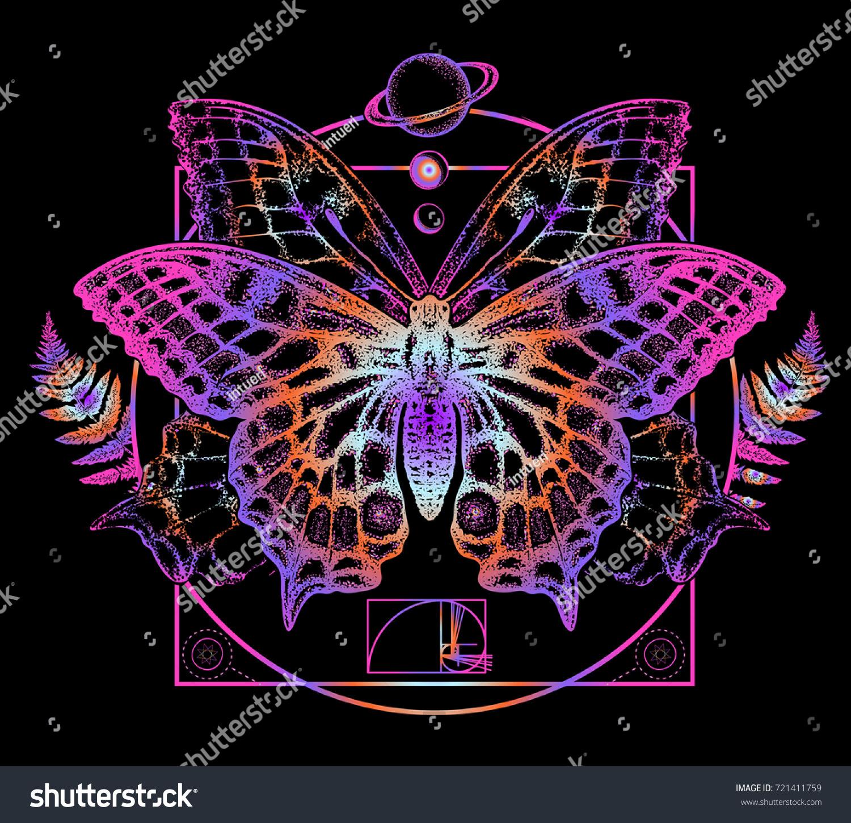 Butterfly Tattoo Art Symbol Magic Renaissance Stock Photo Photo
