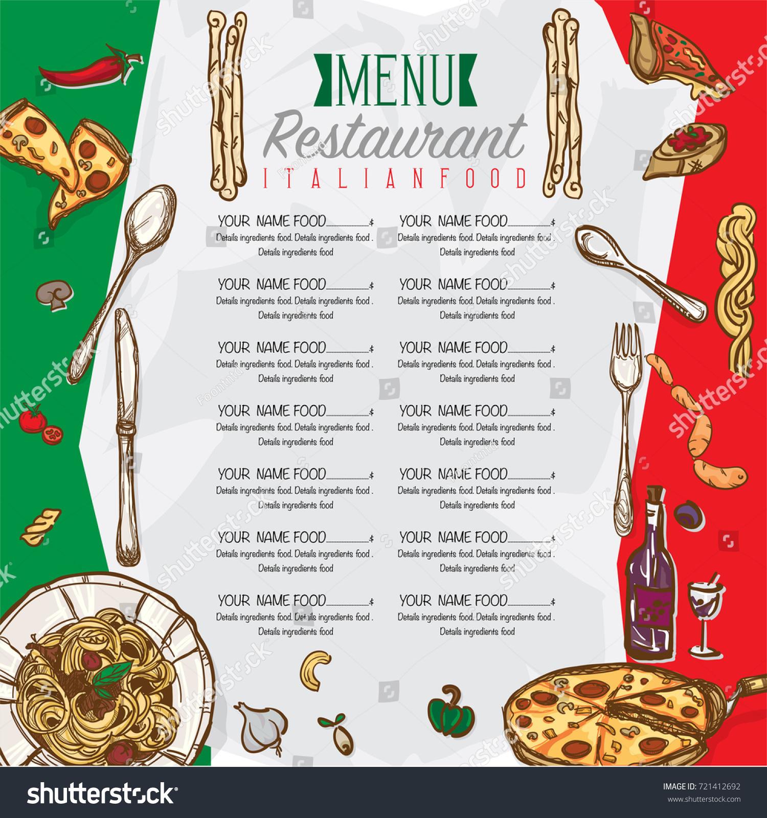 menu italian food restaurant template design stock vector 721412692