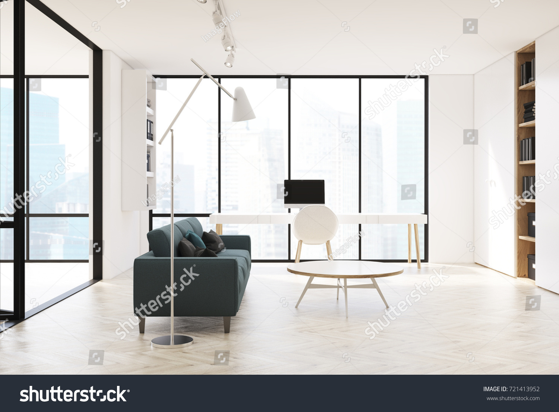 White Living Room Interior Panoramic Window Stock Illustration ...