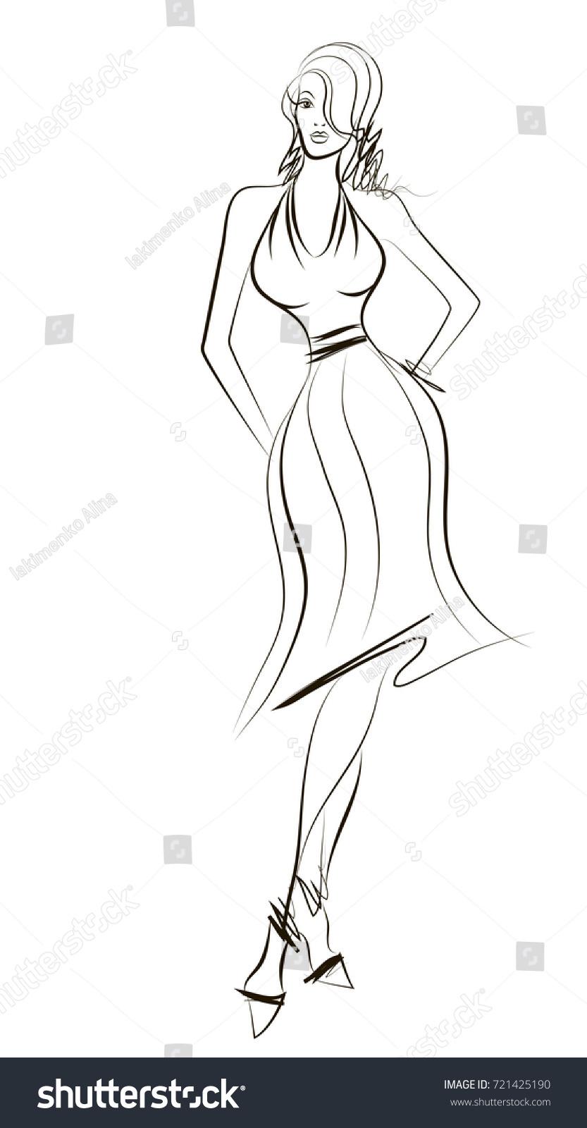 Attractive Girl Dress Model Design Sketch Stock Vector Royalty Free