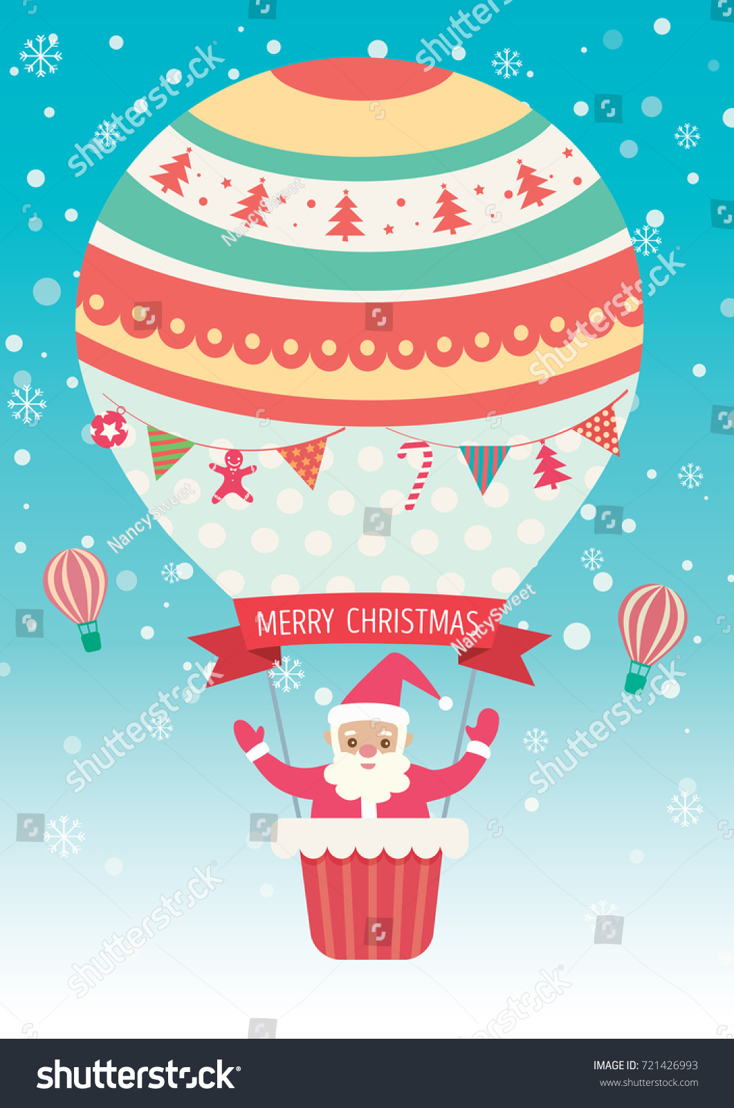 Merry Christmas Card Santa Claus On Stock Vector Royalty Free