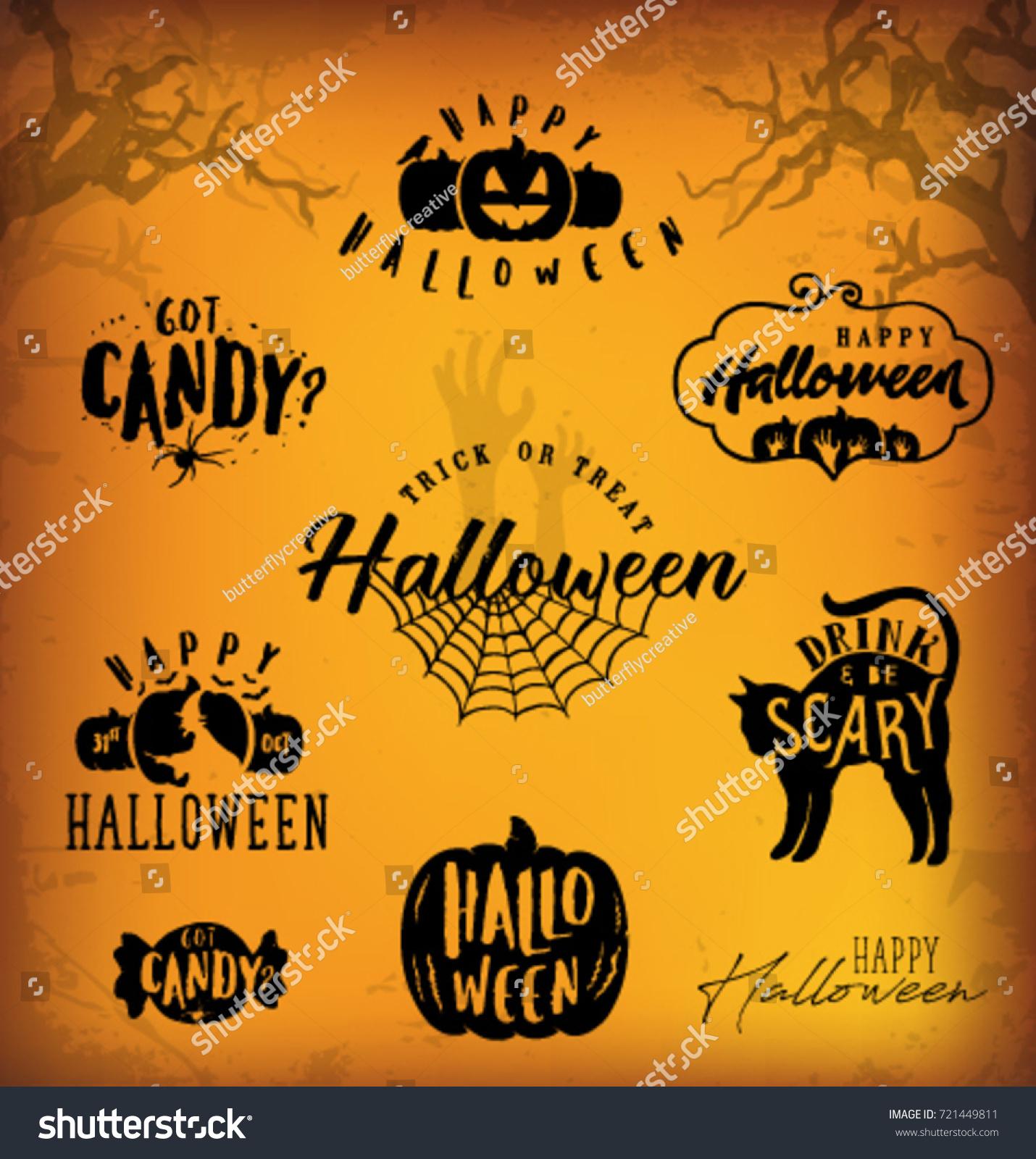 Halloween Design Elements Parties Greeting Cards Stock Vector
