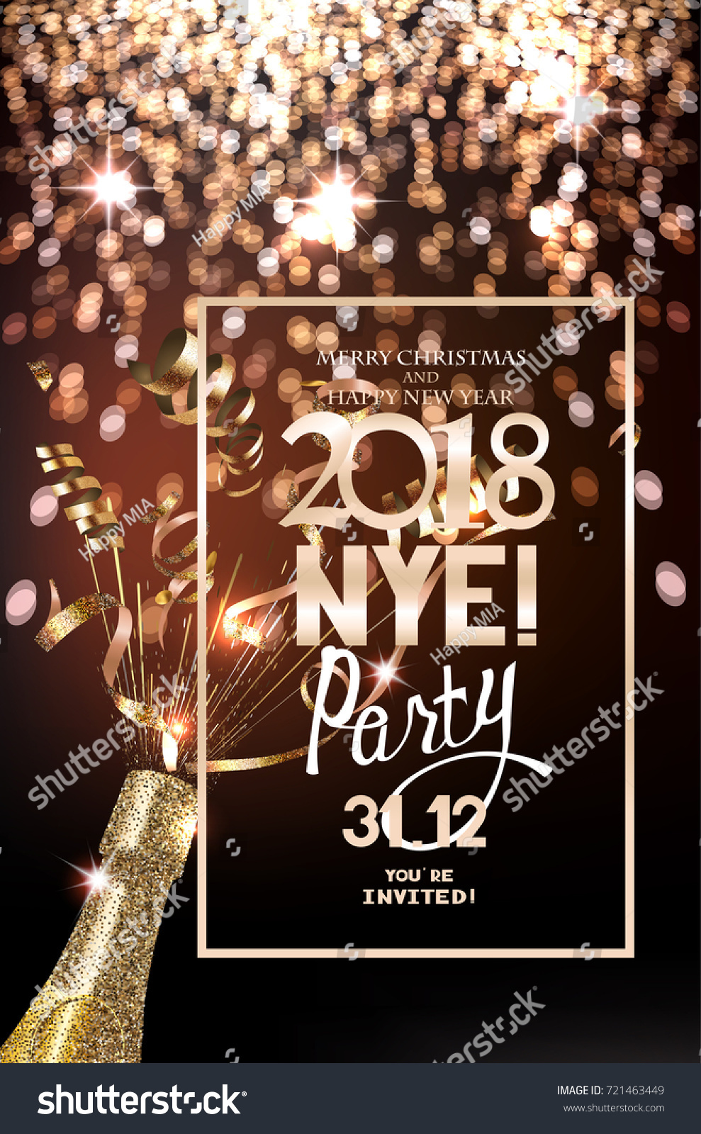 new year eve party invitation card with defocused lights on the background bottle of champagne