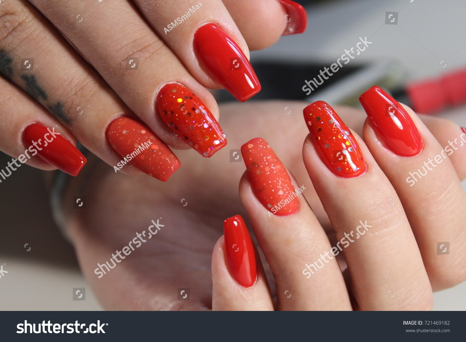 Long Beautiful Red Nails Effective Manicure Stock Photo (100% Legal ...