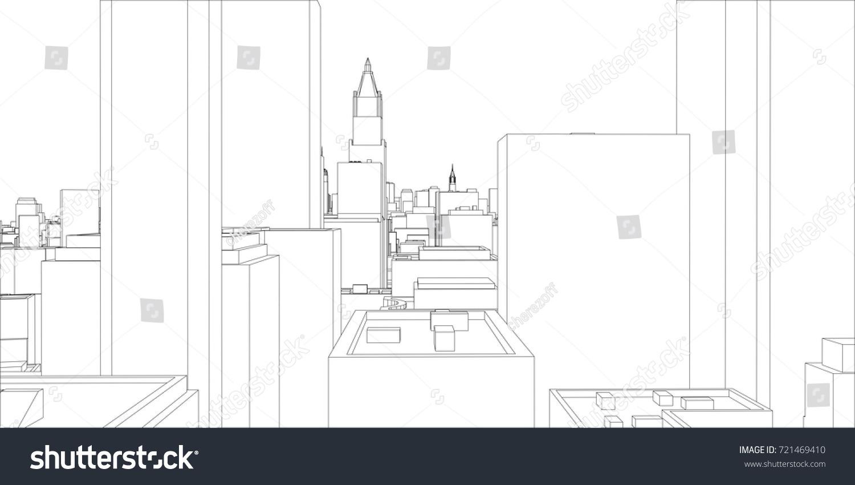 Wireframe new york city blueprint style stock vector 721469410 wire frame new york city blueprint style 3d rendering vector illustration architecture malvernweather Gallery