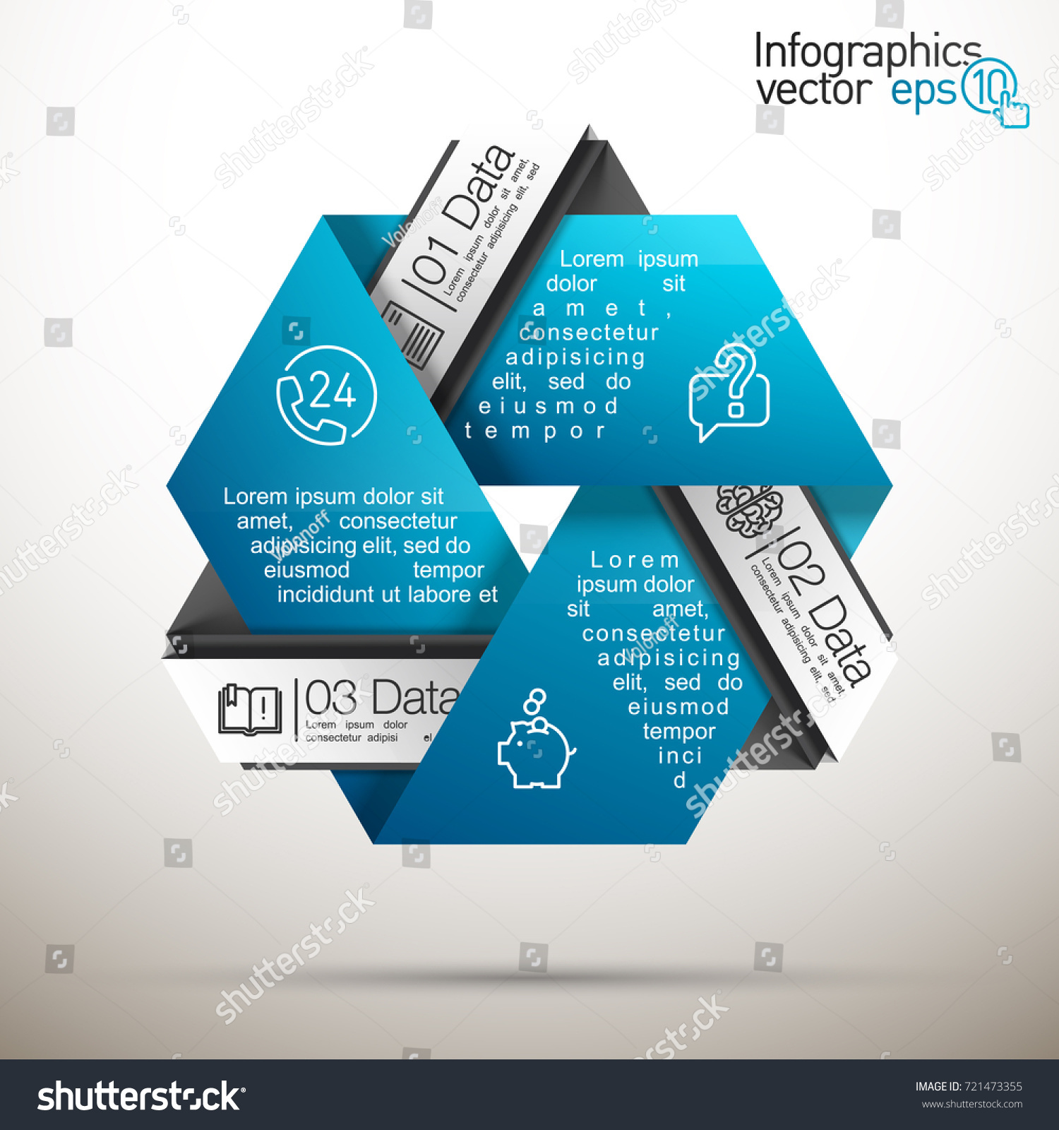 Three Piece Flat Puzzle Round Infographic Stock Vector Royalty Free