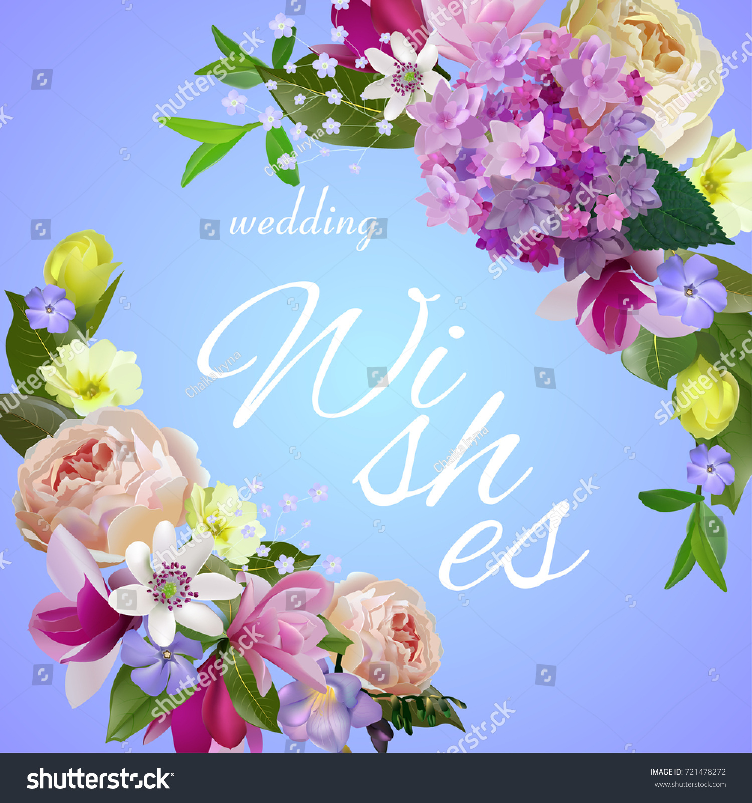Wedding Wishes Greeting Card Wreath Flowers Stock Vector Royalty