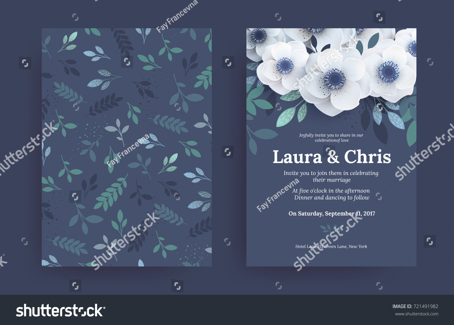 Modern Wedding Invitation Templates Blue Cover Stock Vector ...