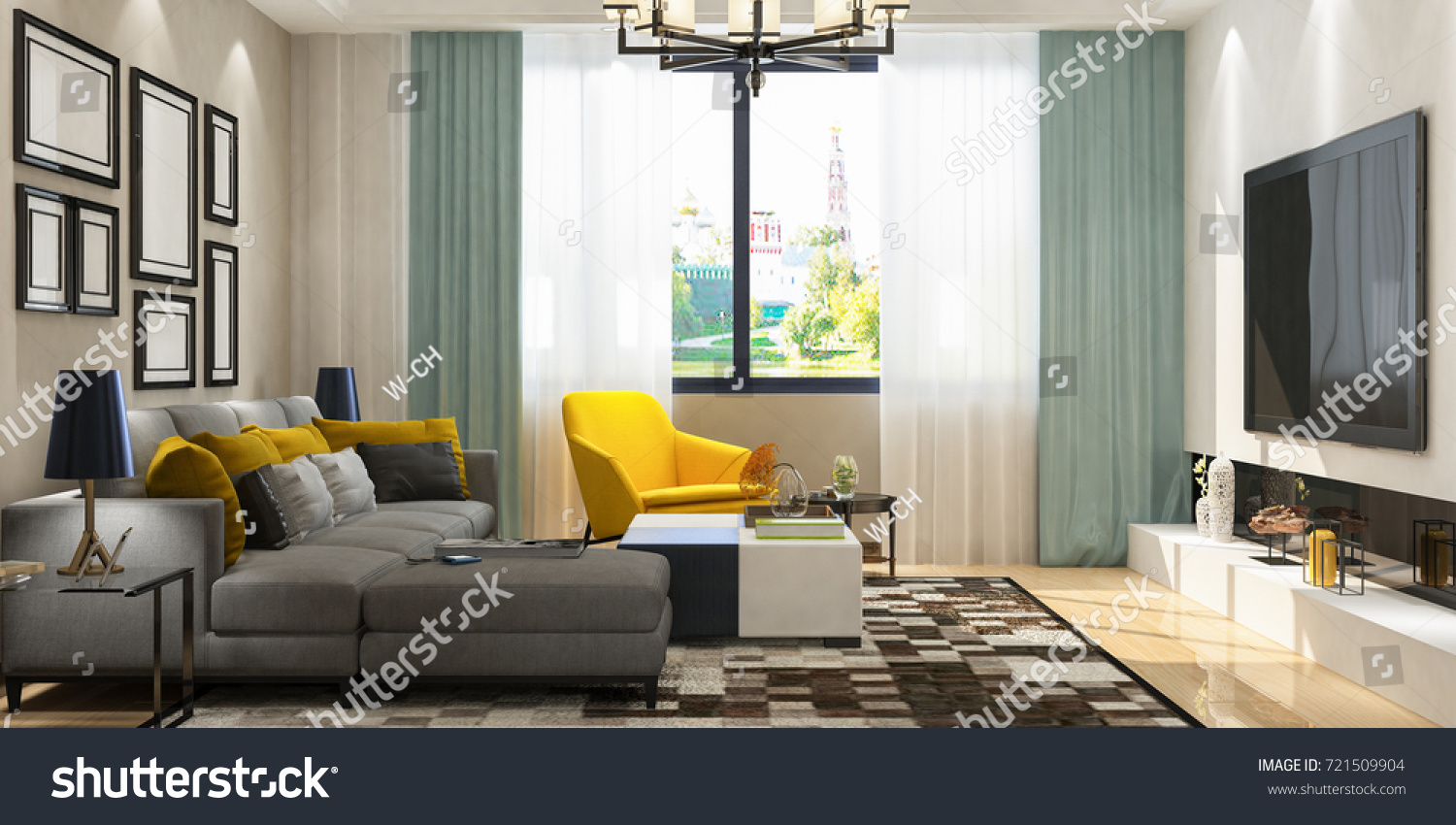 Modern living room perspective sofa set with multi picture frame on wall elevation