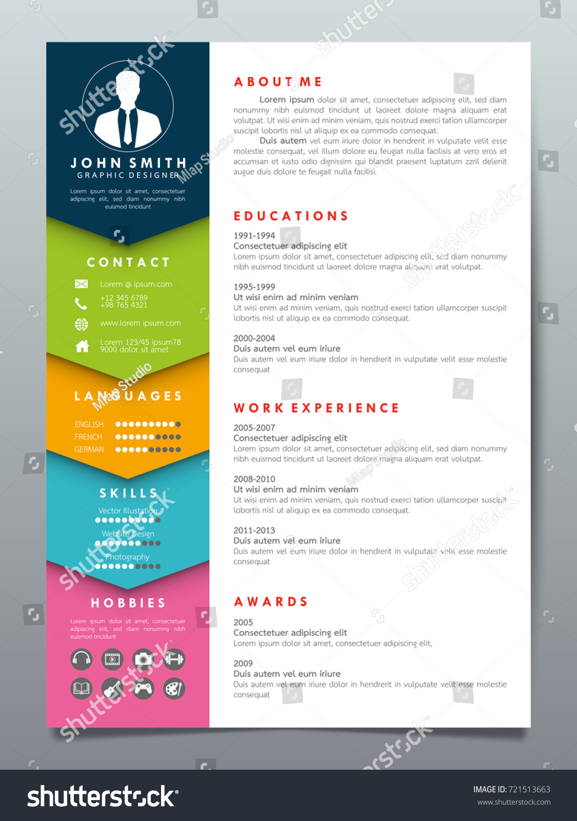 Resume Design Template Minimalist Cv Business Stock Vector