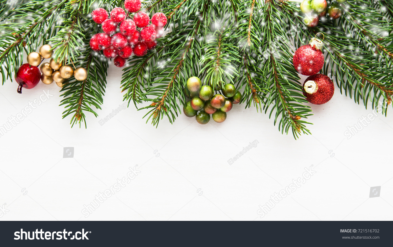Christmas Background Xmas Tree Red Berries Stock Photo Edit Now 721516702