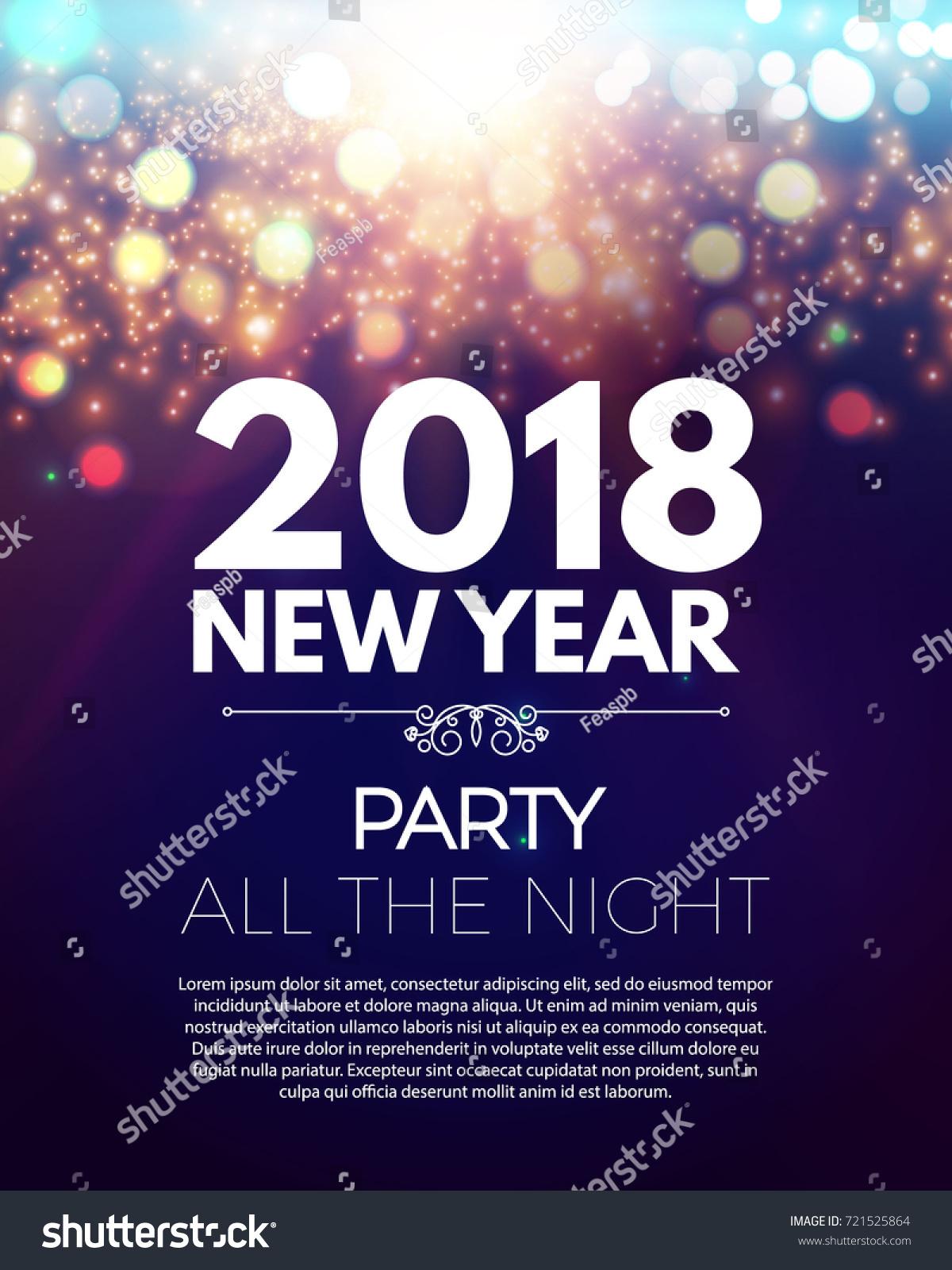 happy new 2018 year party poster template with bokeh light effects and place for text