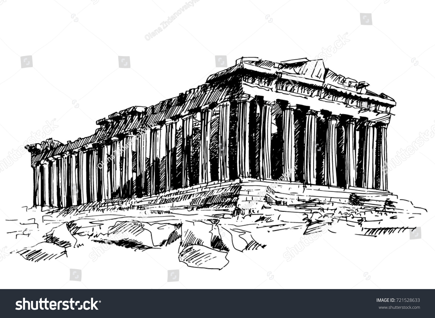 Hand Drawn Drawing Of The Famous Building Ancient Architecture In Athens Parthenon Greece