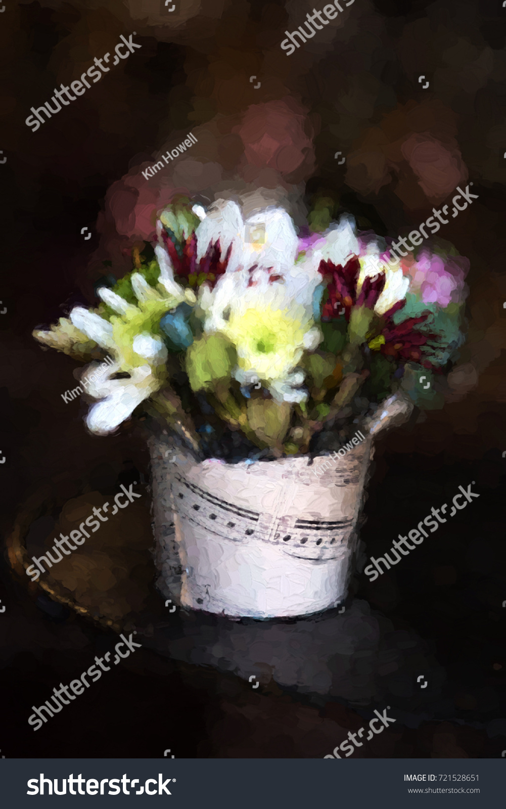 Impressionist Painting Created Photo Bunch Flowers Stock
