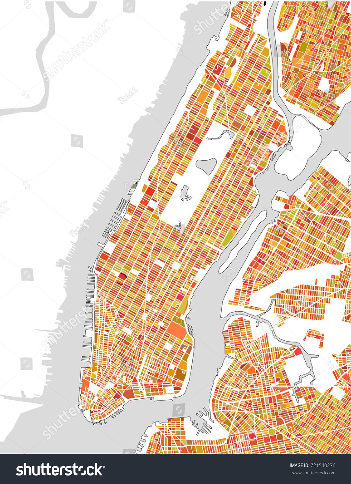 Vector Map New York City Ny Stock Vector Shutterstock - Usa map ny