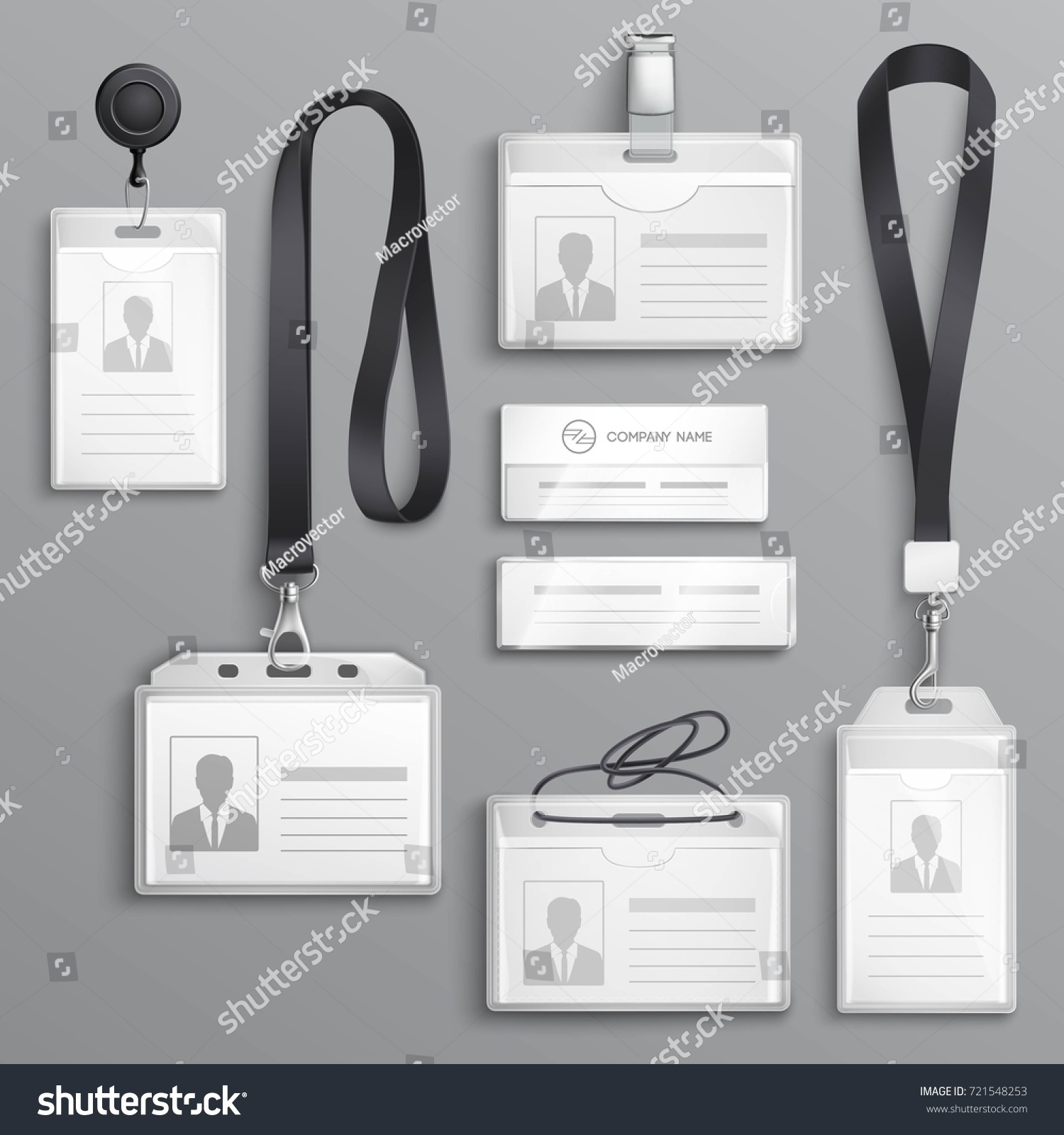 Employees Identification Card Id Badges Holders Stock Vector ...