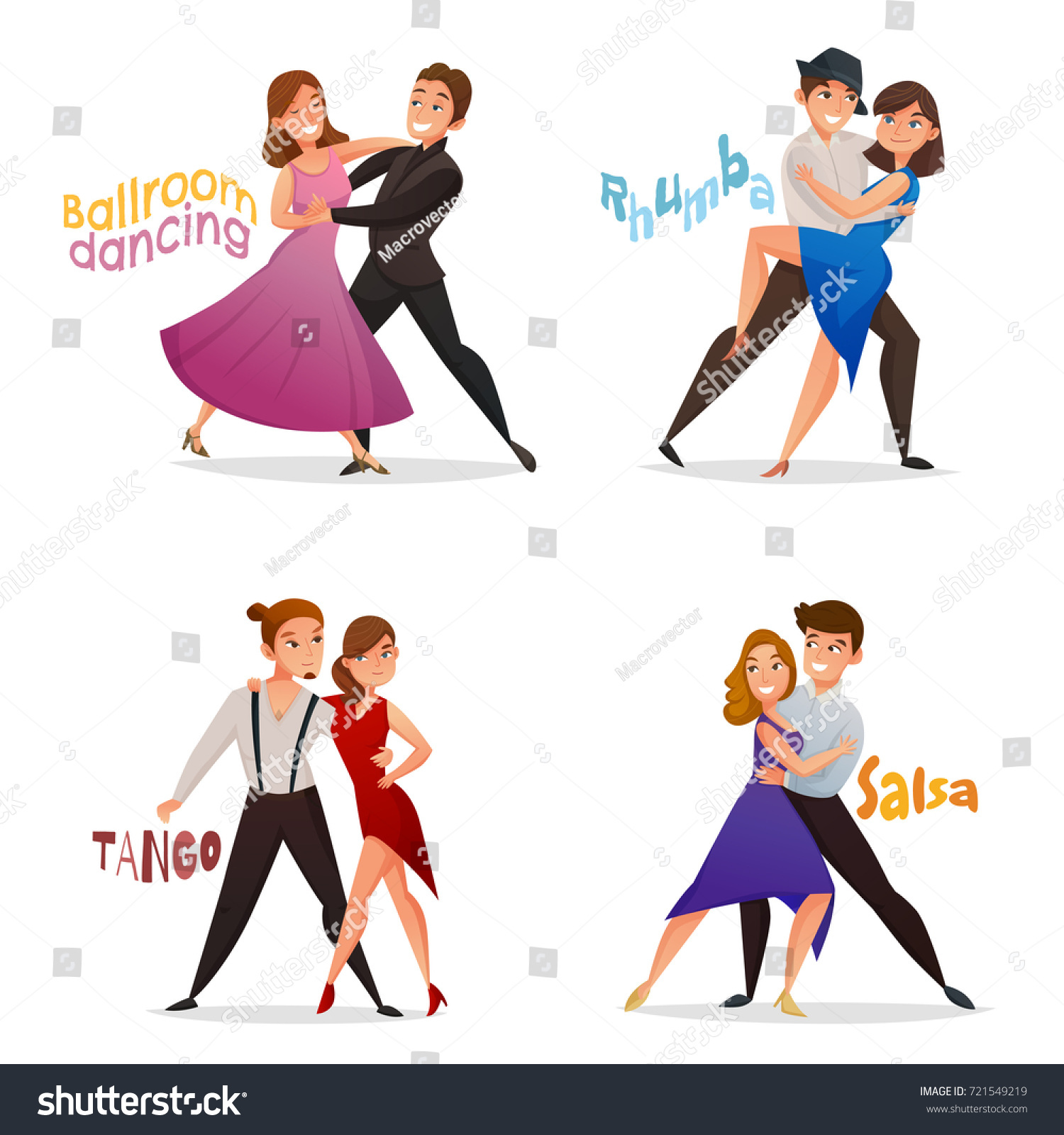 Stock Vector Dancing Pairs Retro Cartoon Icons Set With Tango Salsa And Ballroom Waltz Steps Isolated Vector on Country Waltz Dance Steps Diagram
