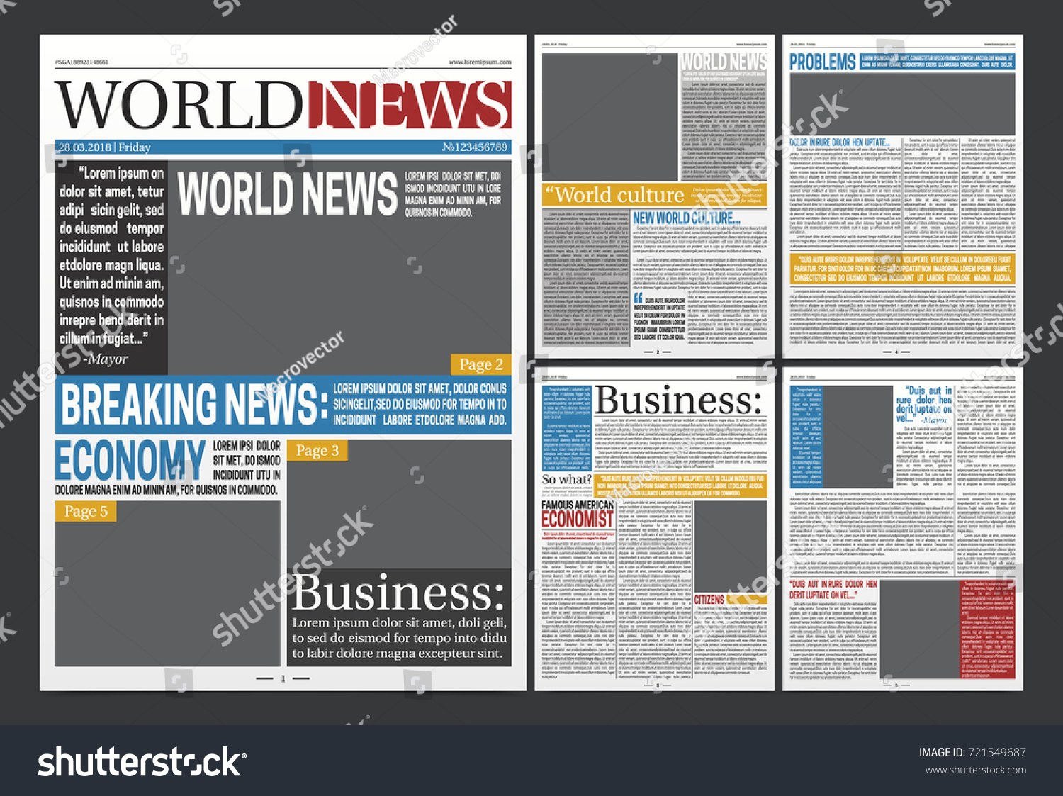 newspaper online template design with world business news economy headlines and blank spaces for images realistic