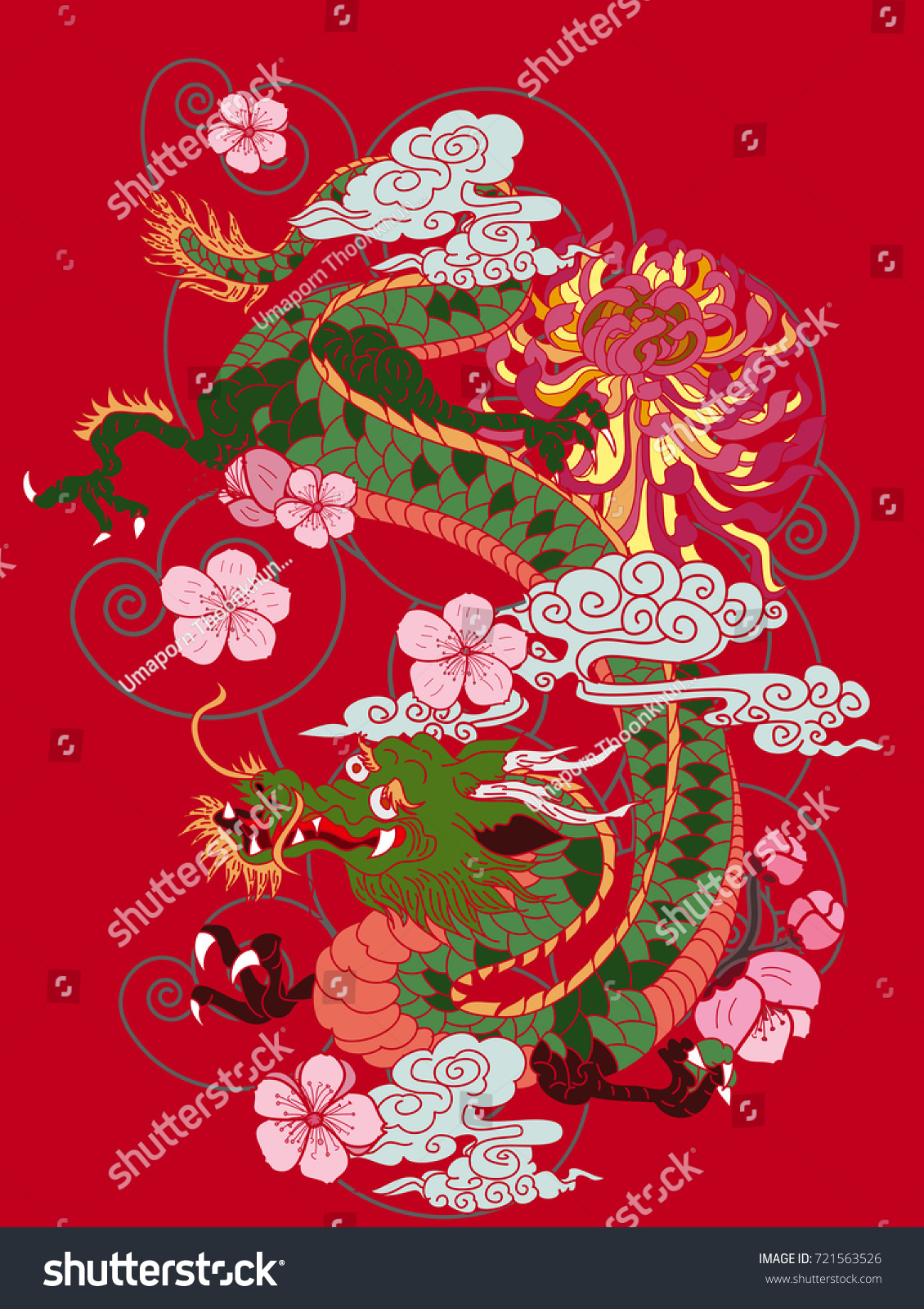 Colorful Japanese Dragon Flower Tattoo Style Stock Vector 721563526 ...