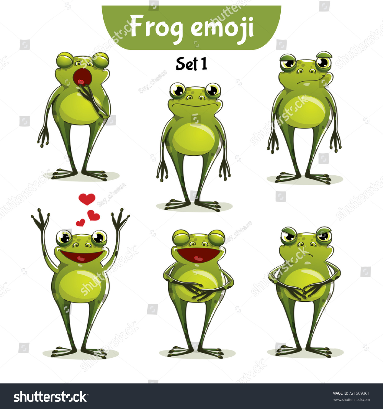 vector set cute frog characters set stock vector 721569361