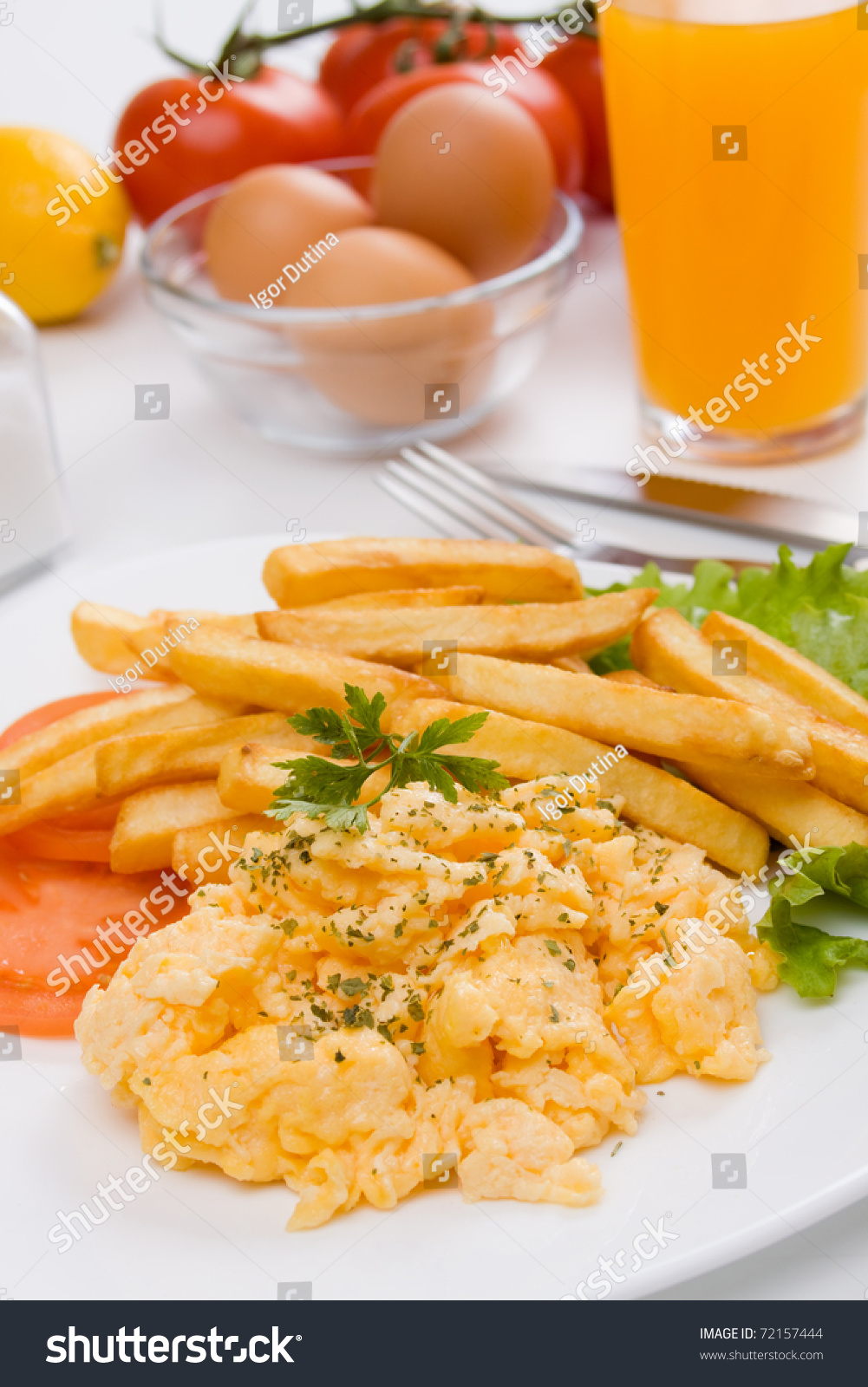 Scrambled eggs french fries on white stock photo 72157444 for French style scrambled eggs