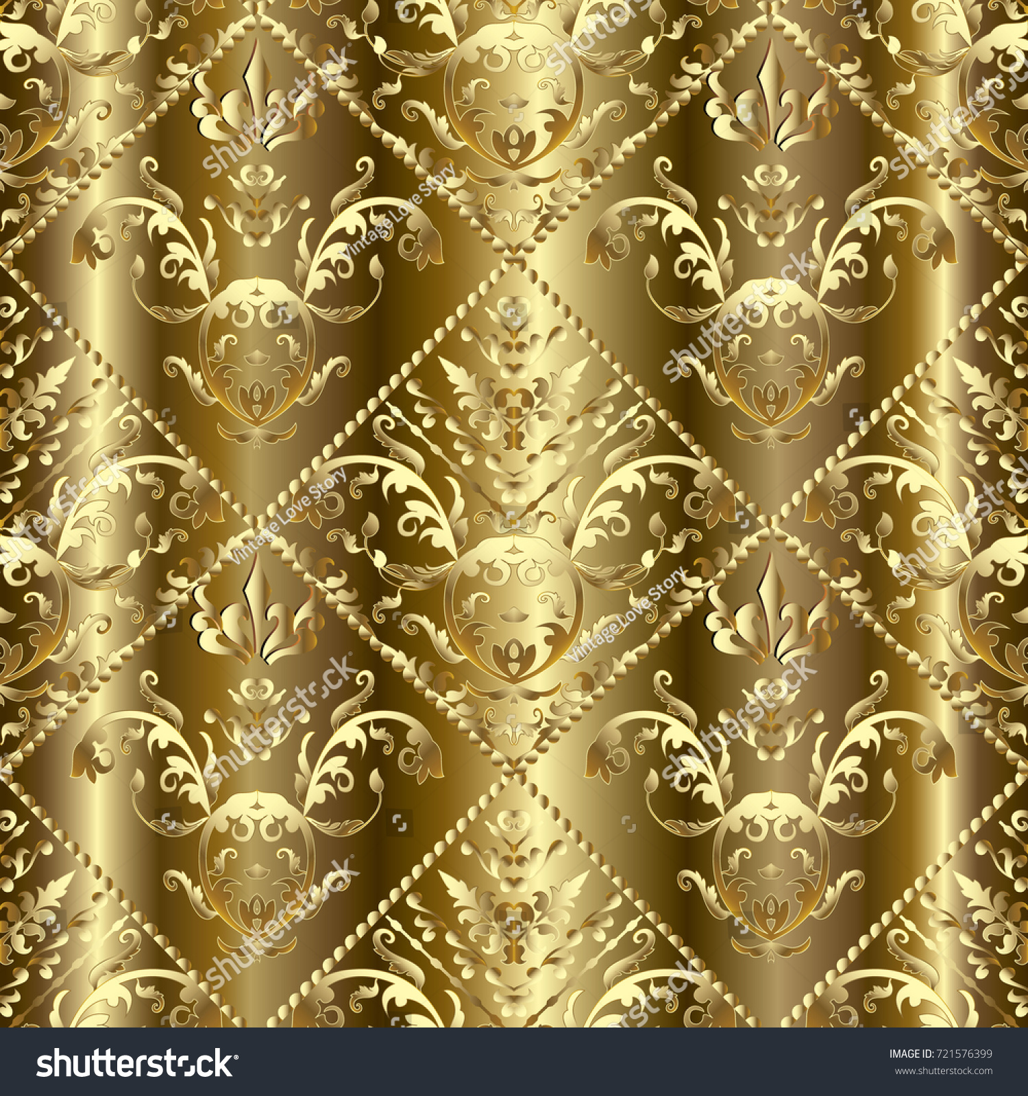 Gold Baroque 3 D Seamless Pattern Floral Stock Vector 721576399 ...