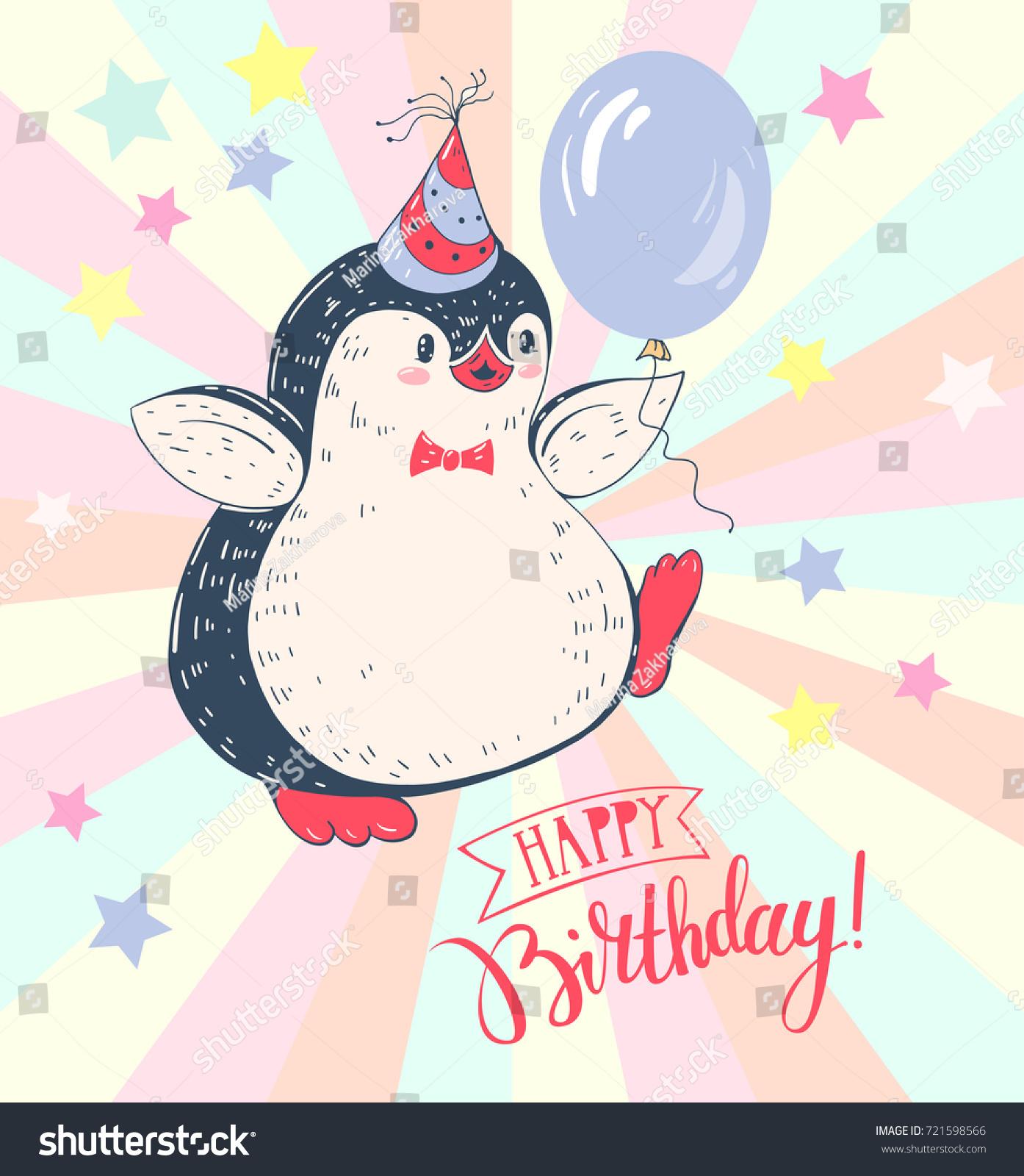 Greeting Card Happy Birthday Cheerful Penguin Stock Vector