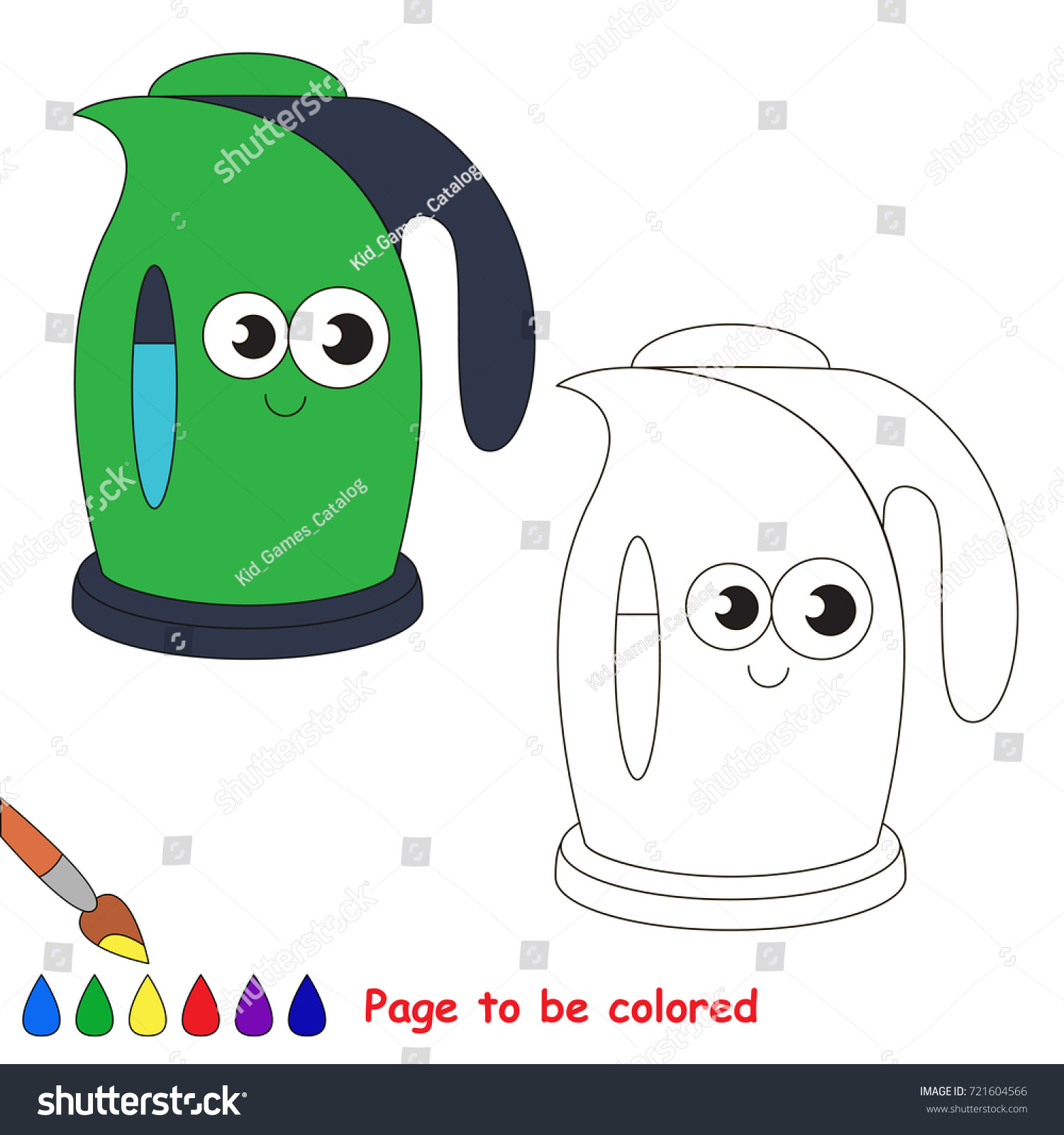 Funny Kettle Be Colored Coloring Book Stock Vector 721604566 ...