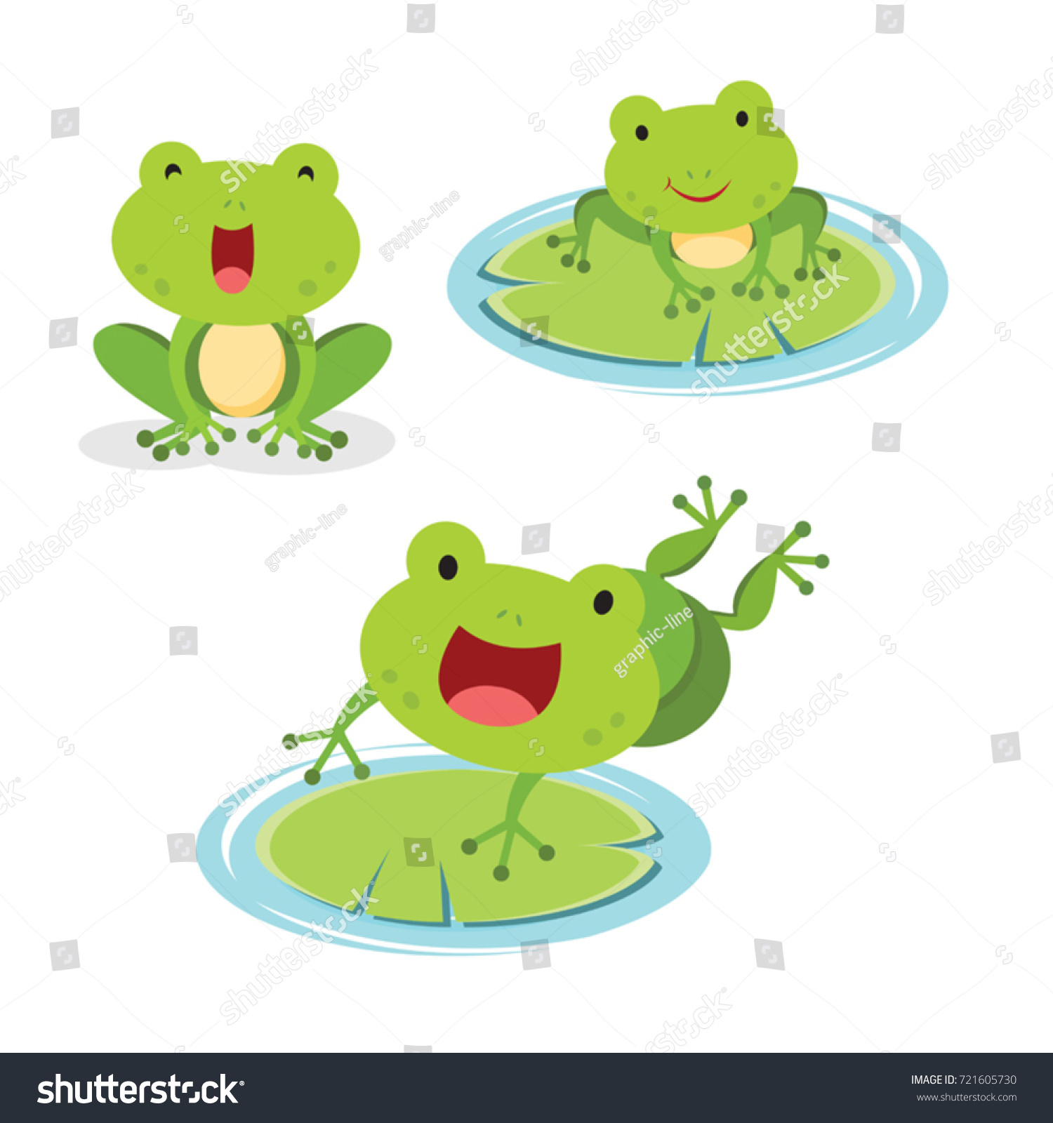 set green frog different pose vector stock vector 721605730