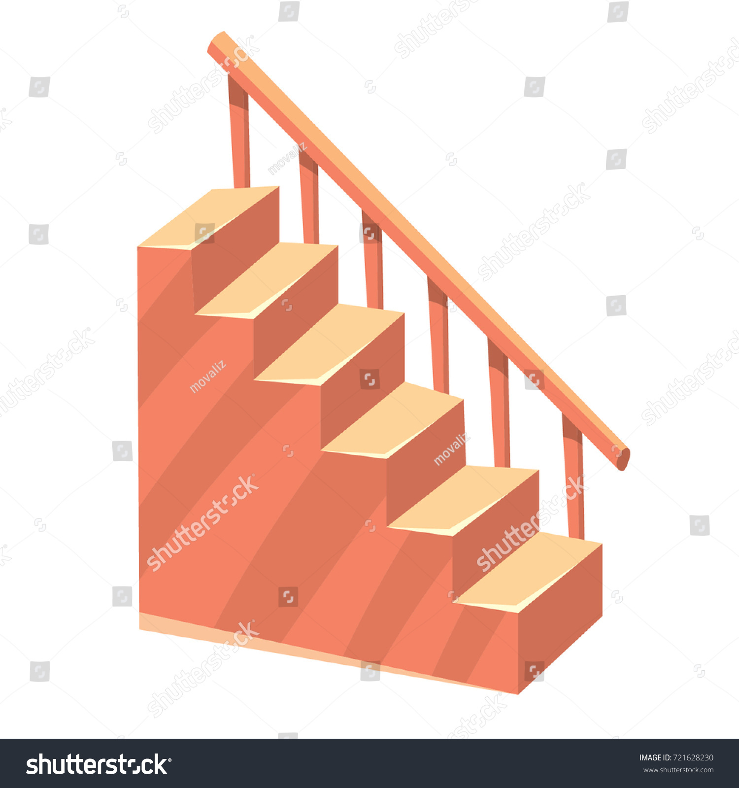 Cartoon Isolated Stairs Staircase Color Illustration Stock Vector Royalty Free 721628230