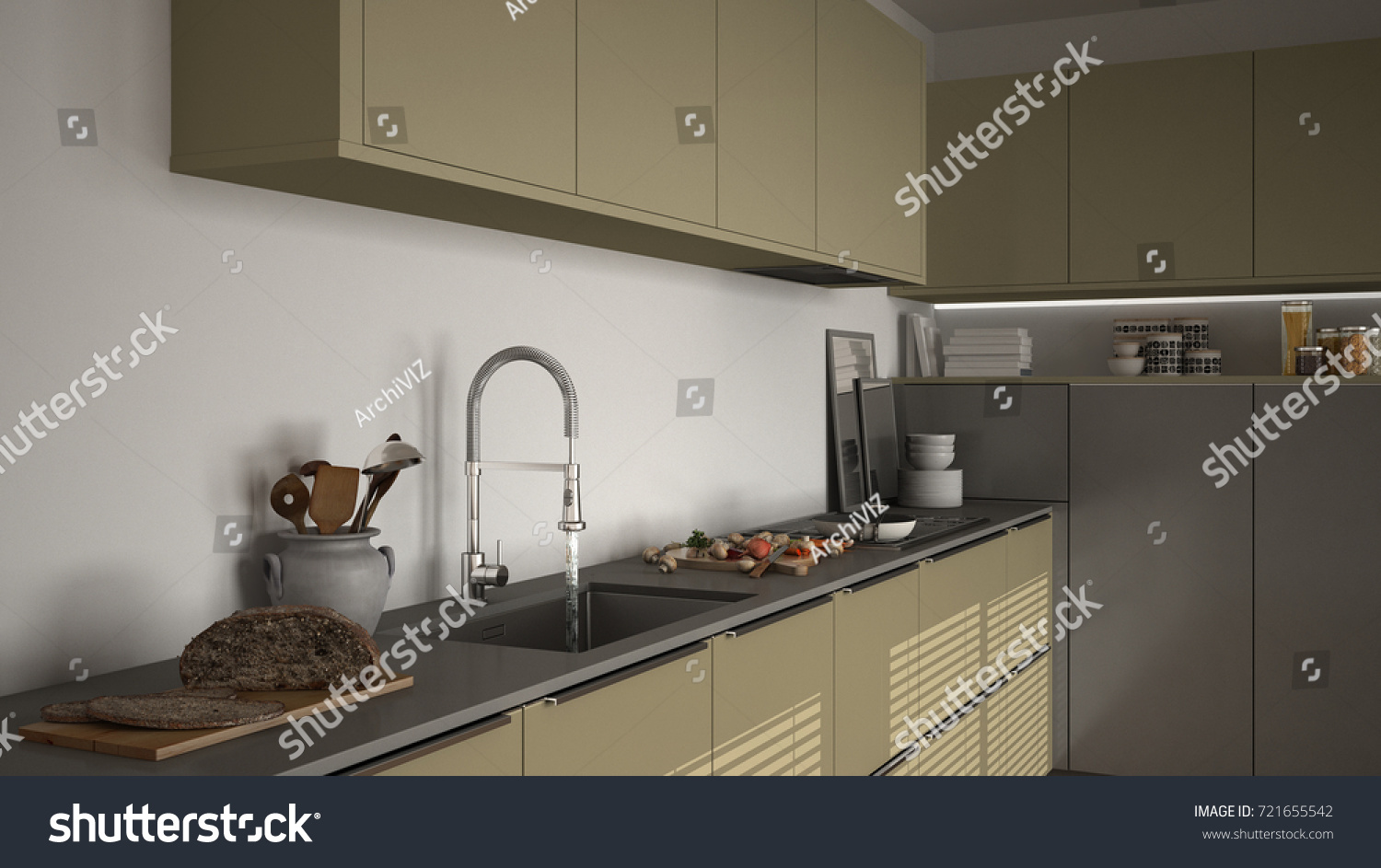 Modern kitchen with sink and stove cooking pan and food close up