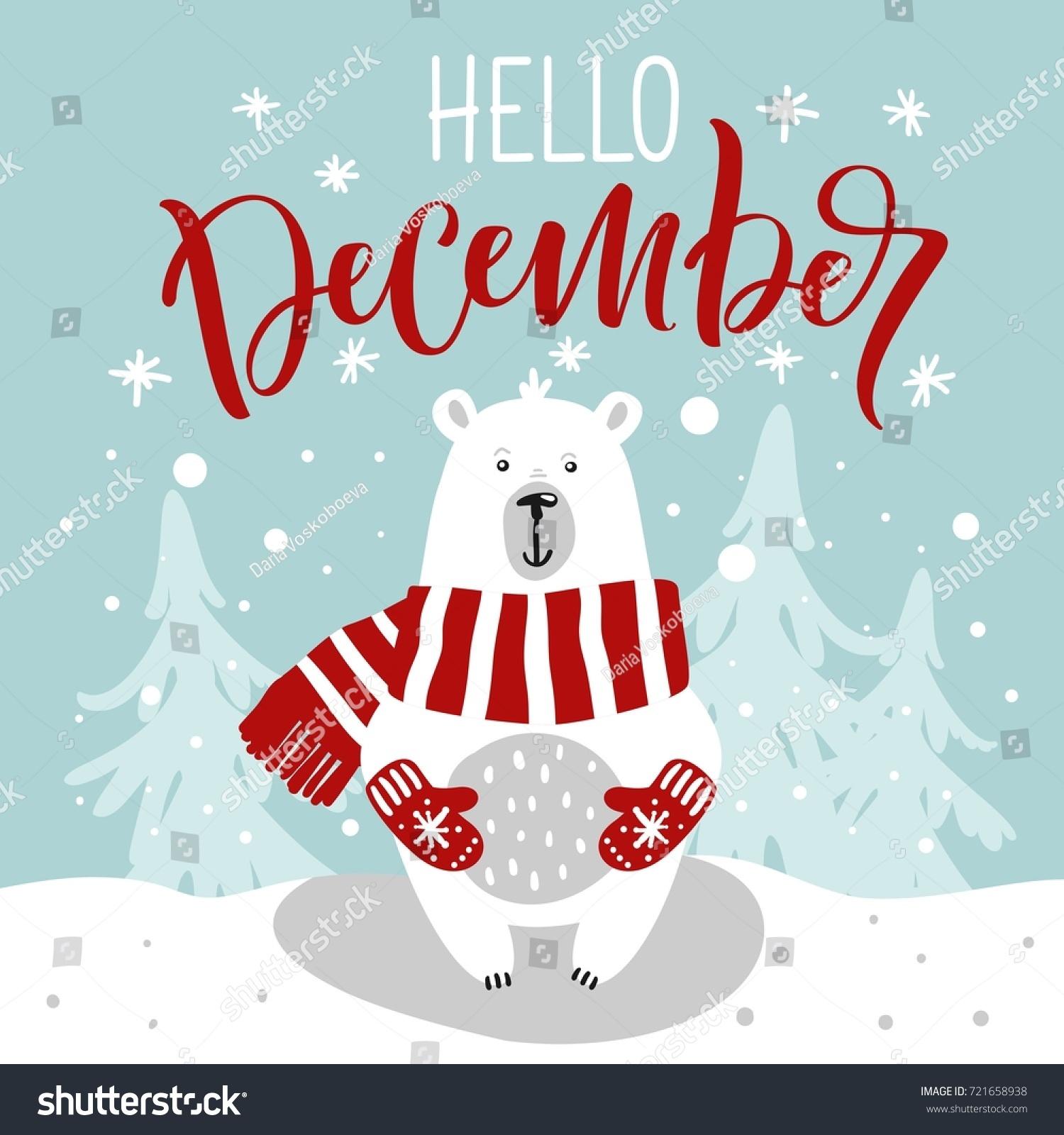 Winter greeting card cute hand drawn stock vector royalty free winter greeting card with cute hand drawn polar bear hand drawn lettering phrase hello m4hsunfo