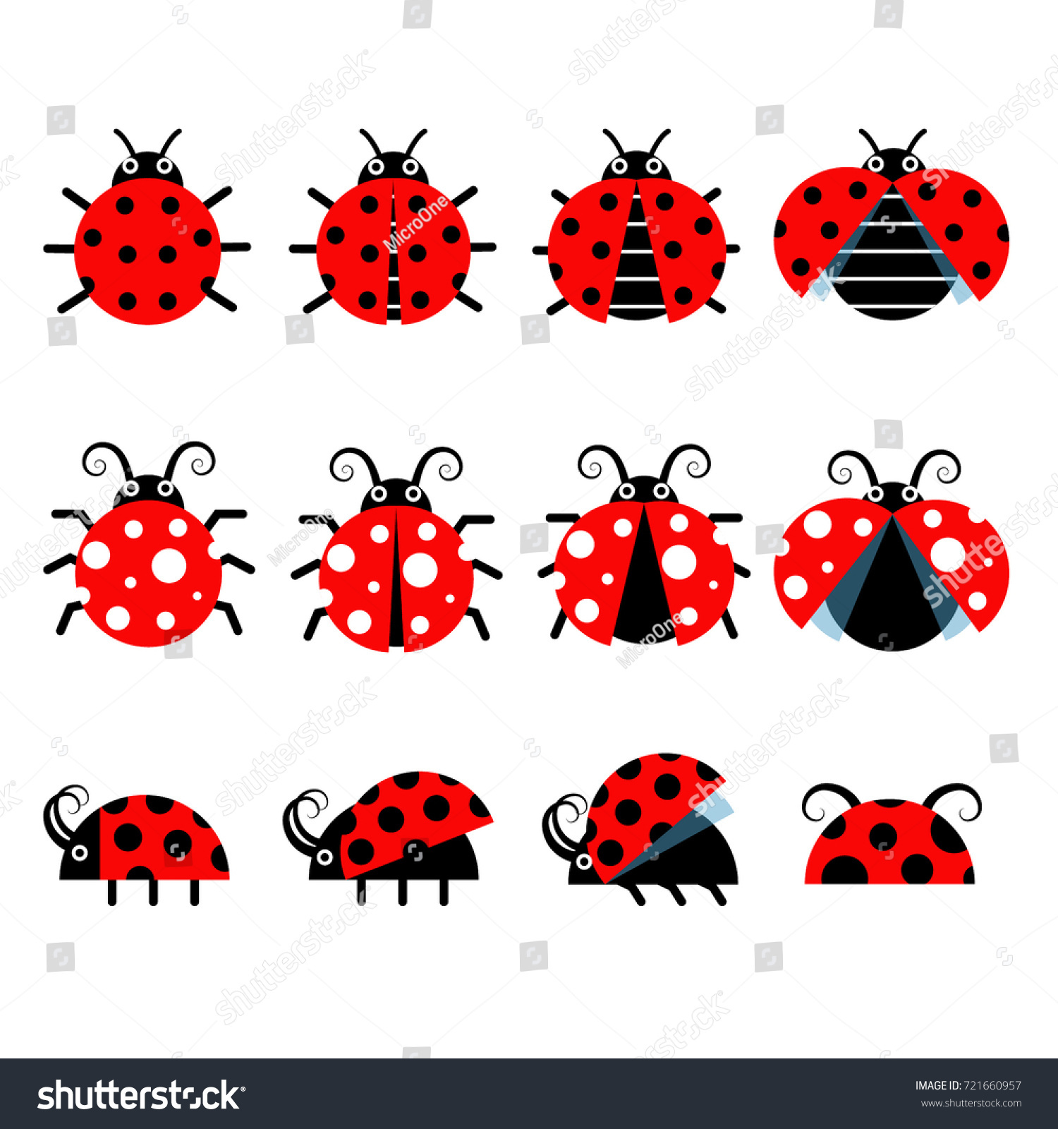 cute ladybug vector icons cartoonstyle bug stock vector 721660957