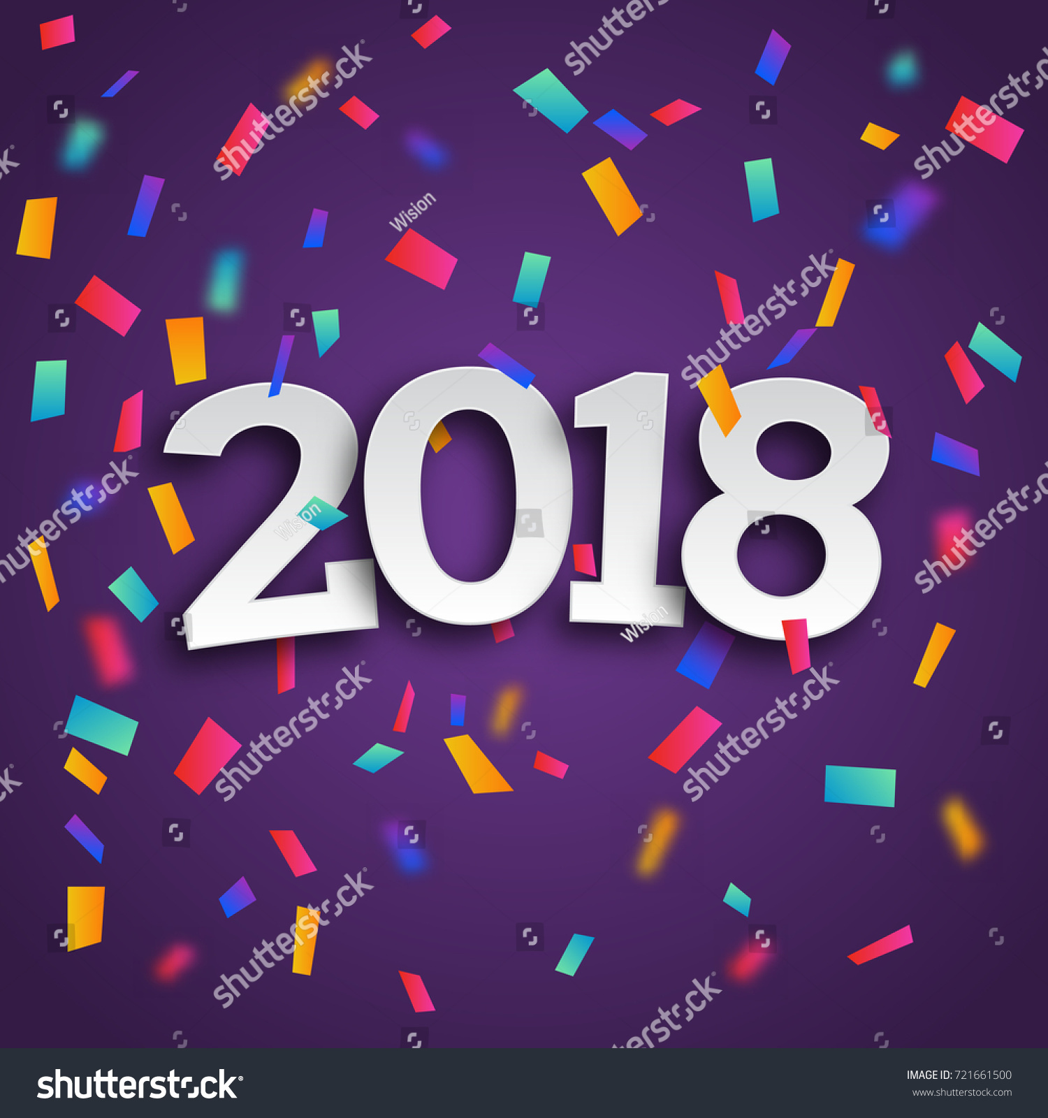 happy new year 2018 greeting card stock vector 721661500