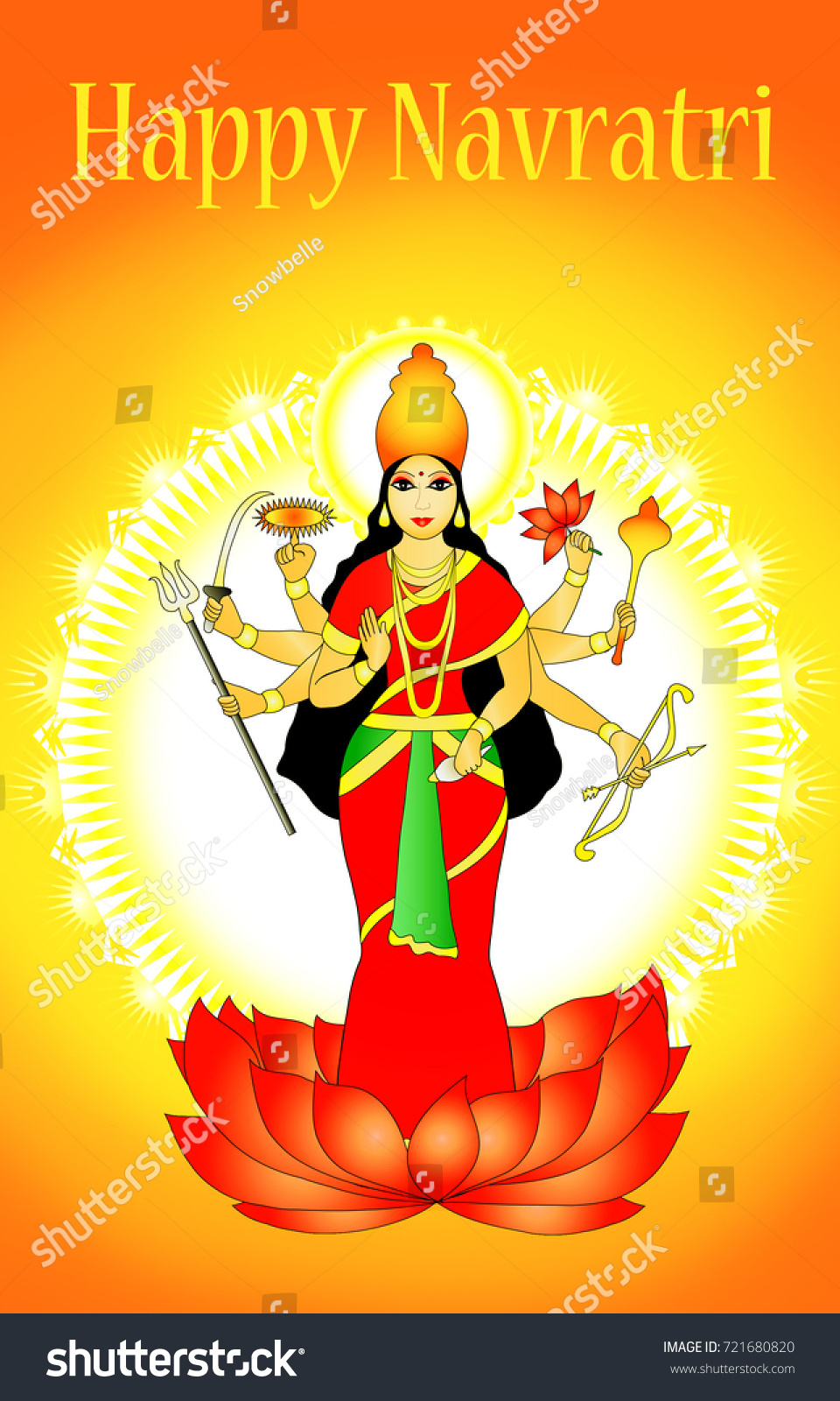 Illustration goddess durga on greeting card stock illustration illustration of goddess durga on greeting card for navratri festival with message happy navratri navaratri kristyandbryce Choice Image