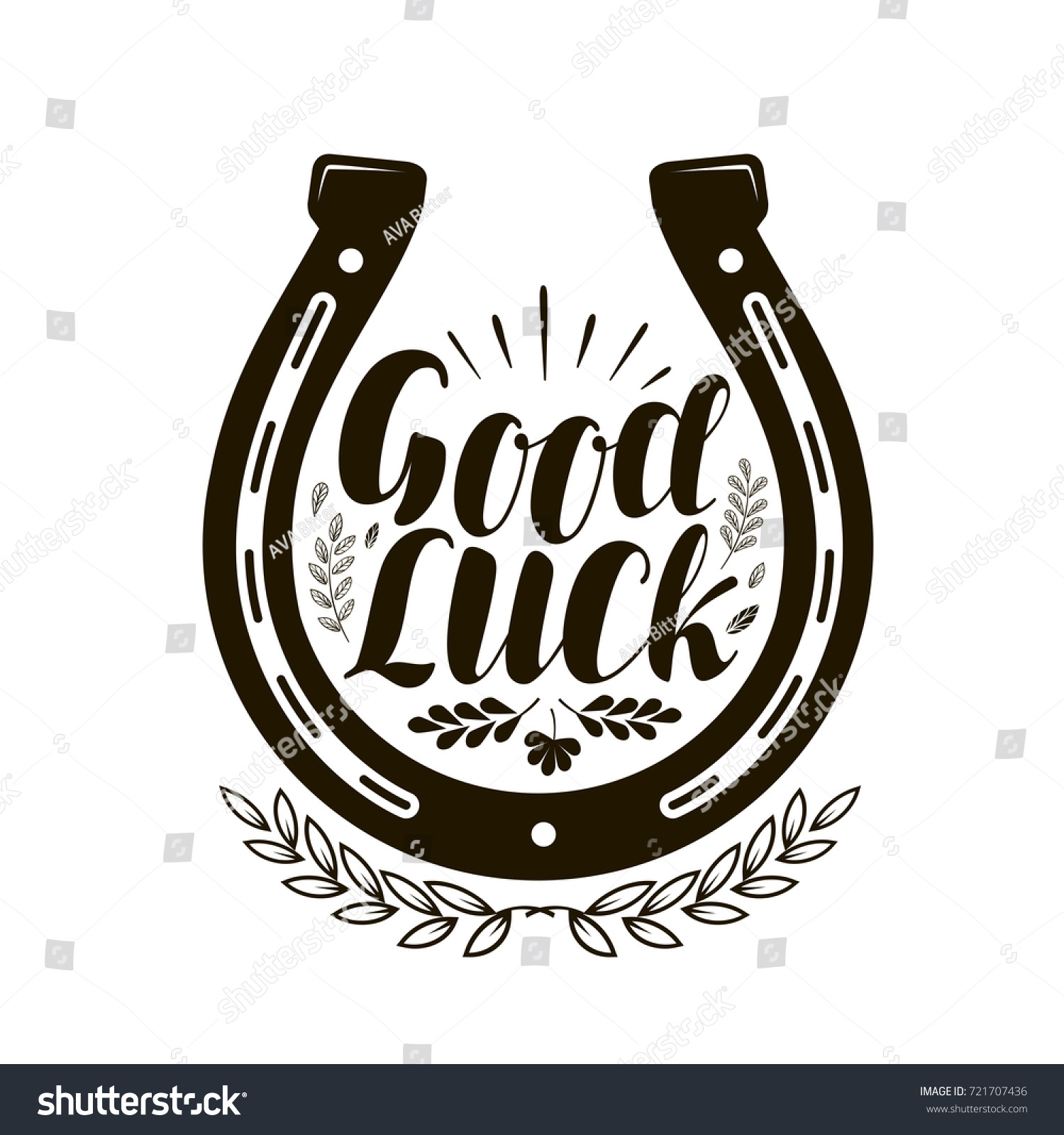 Horseshoe symbol label good luck lettering imagem vetorial de horseshoe symbol or label good luck lettering vector illustration biocorpaavc Choice Image