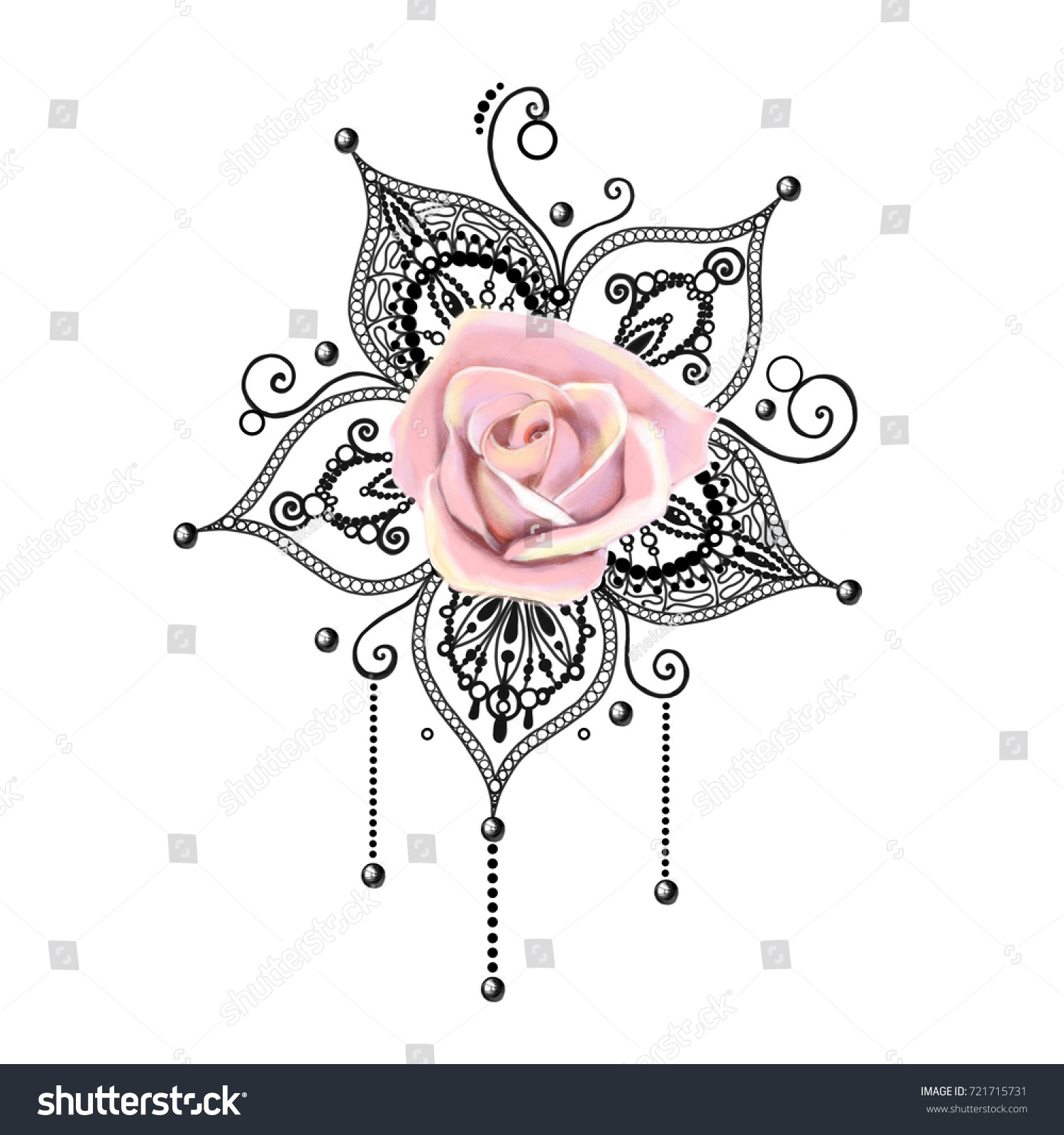 Mandala Tattoo Hand Drawn Lotus Pental Stock Illustration 721715731