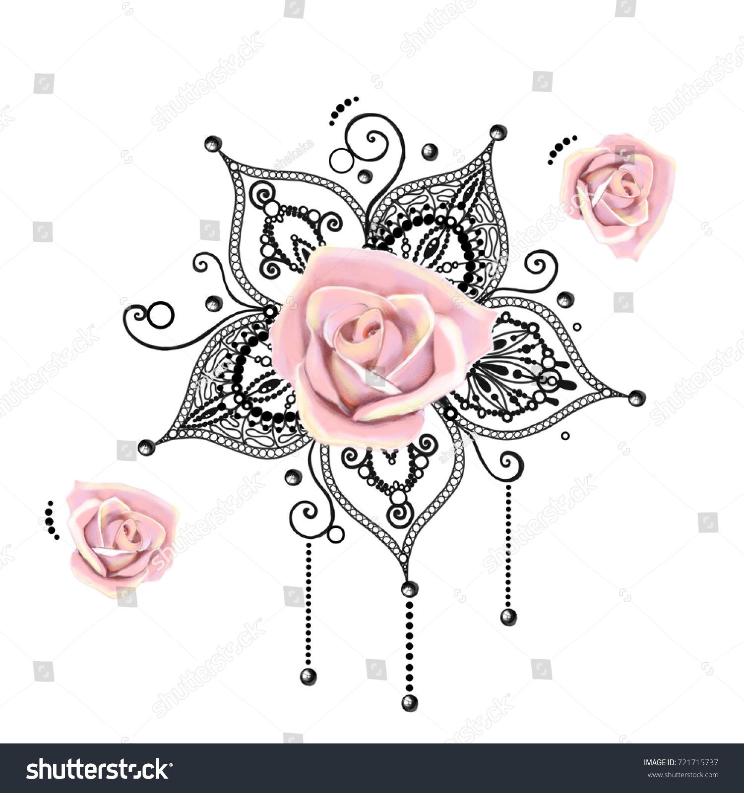 Mandala Tattoo Hand Drawn Lotus Pental Stock Illustration 721715737