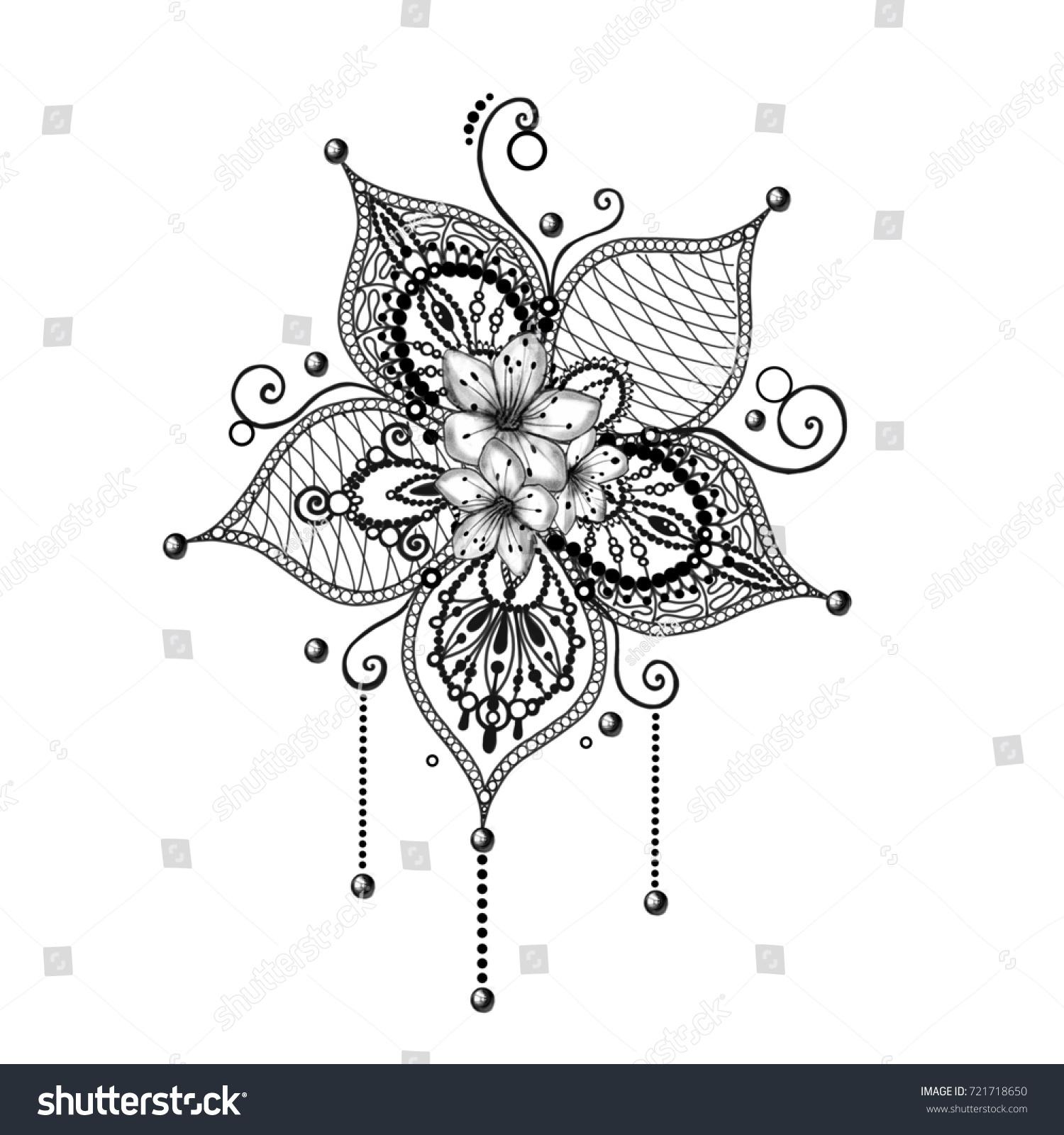 Mandala Tattoo Hand Drawn Lotus Flower Stock Illustration Royalty