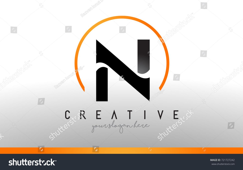N Letter Logo Design With Black Orange Color Cool Modern Icon Letters Vector