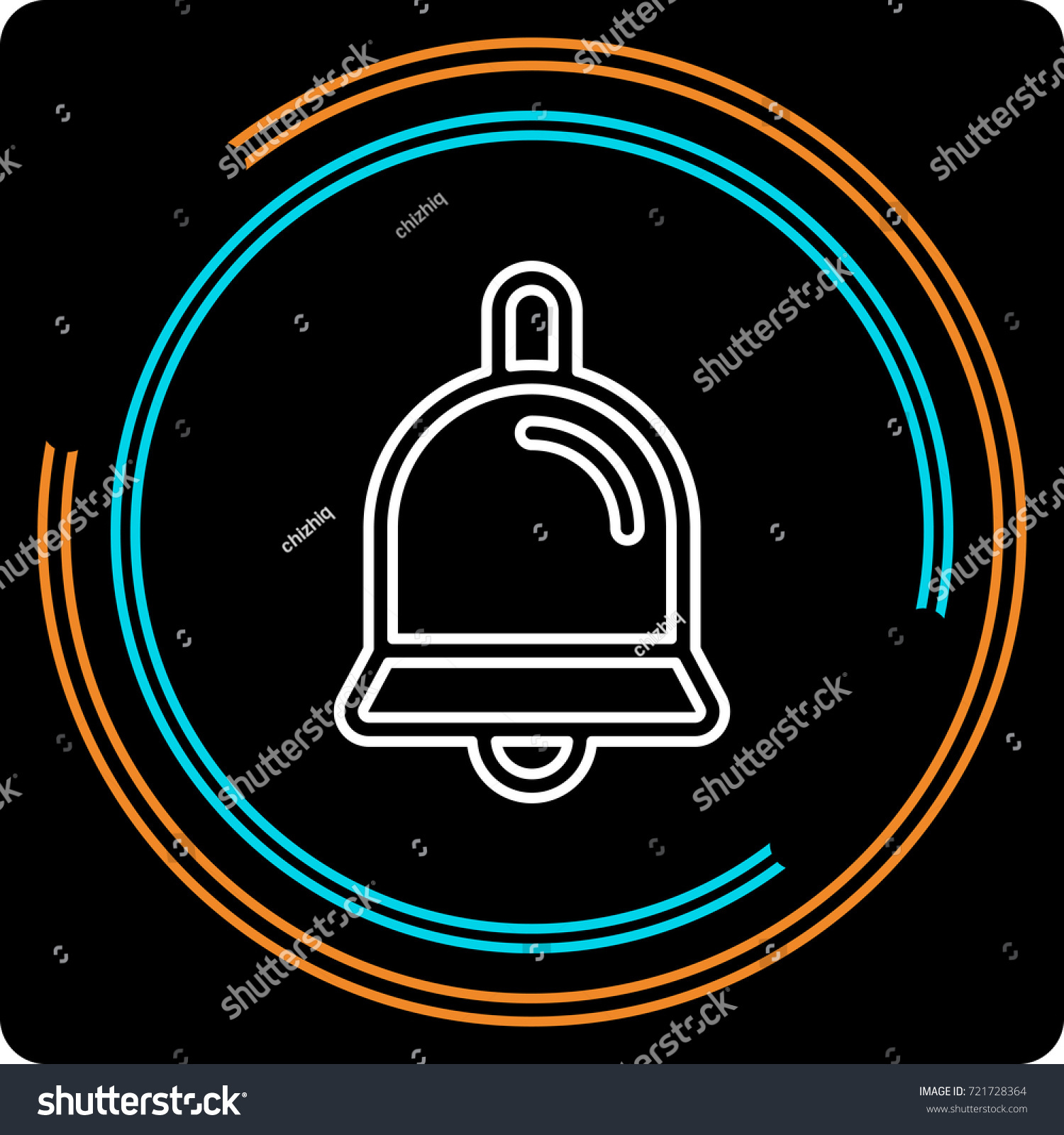 simple bell thin line icon editable stock vector 721728364