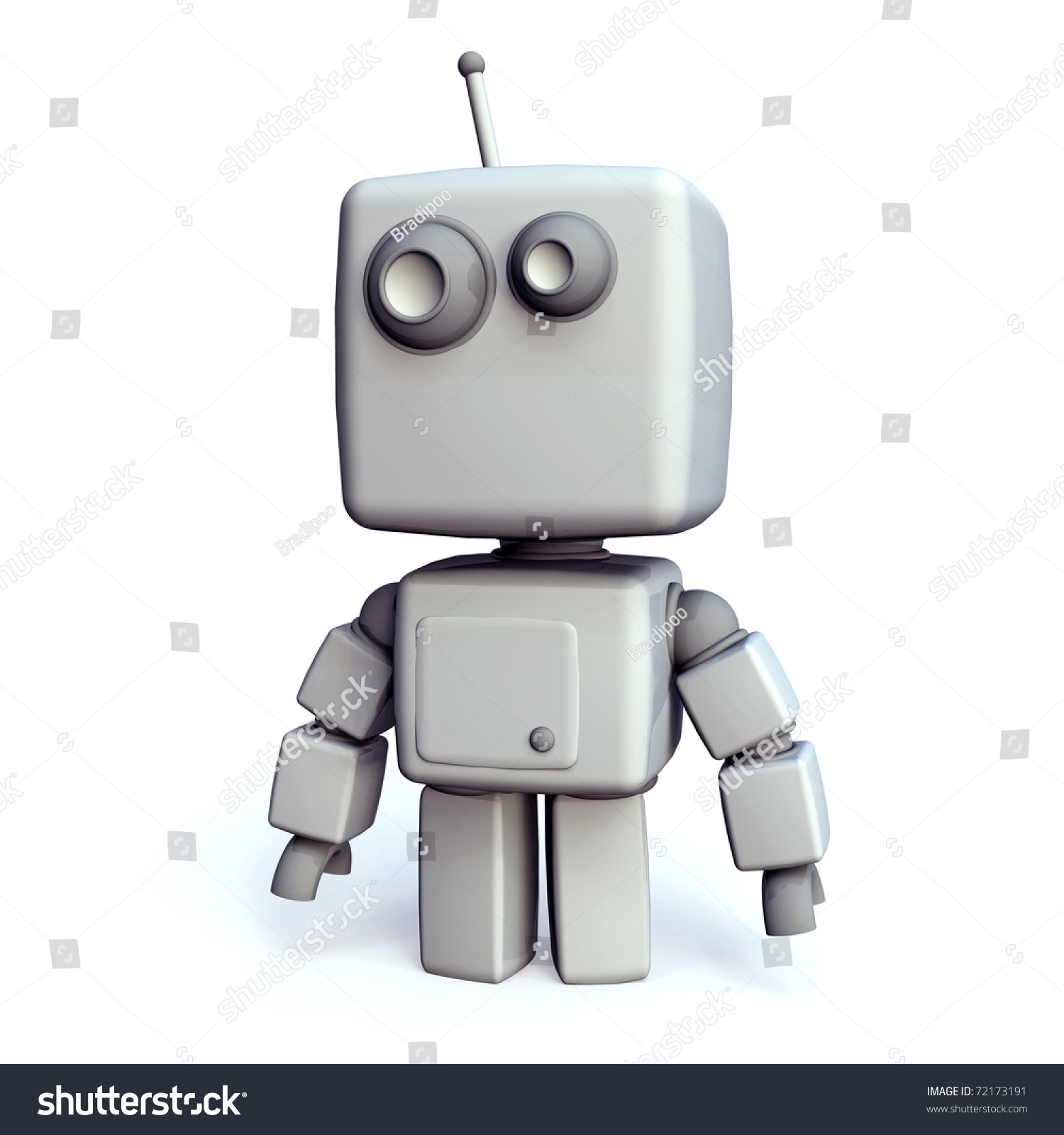 A Funny And Simple White 3d Robot On White Background ...