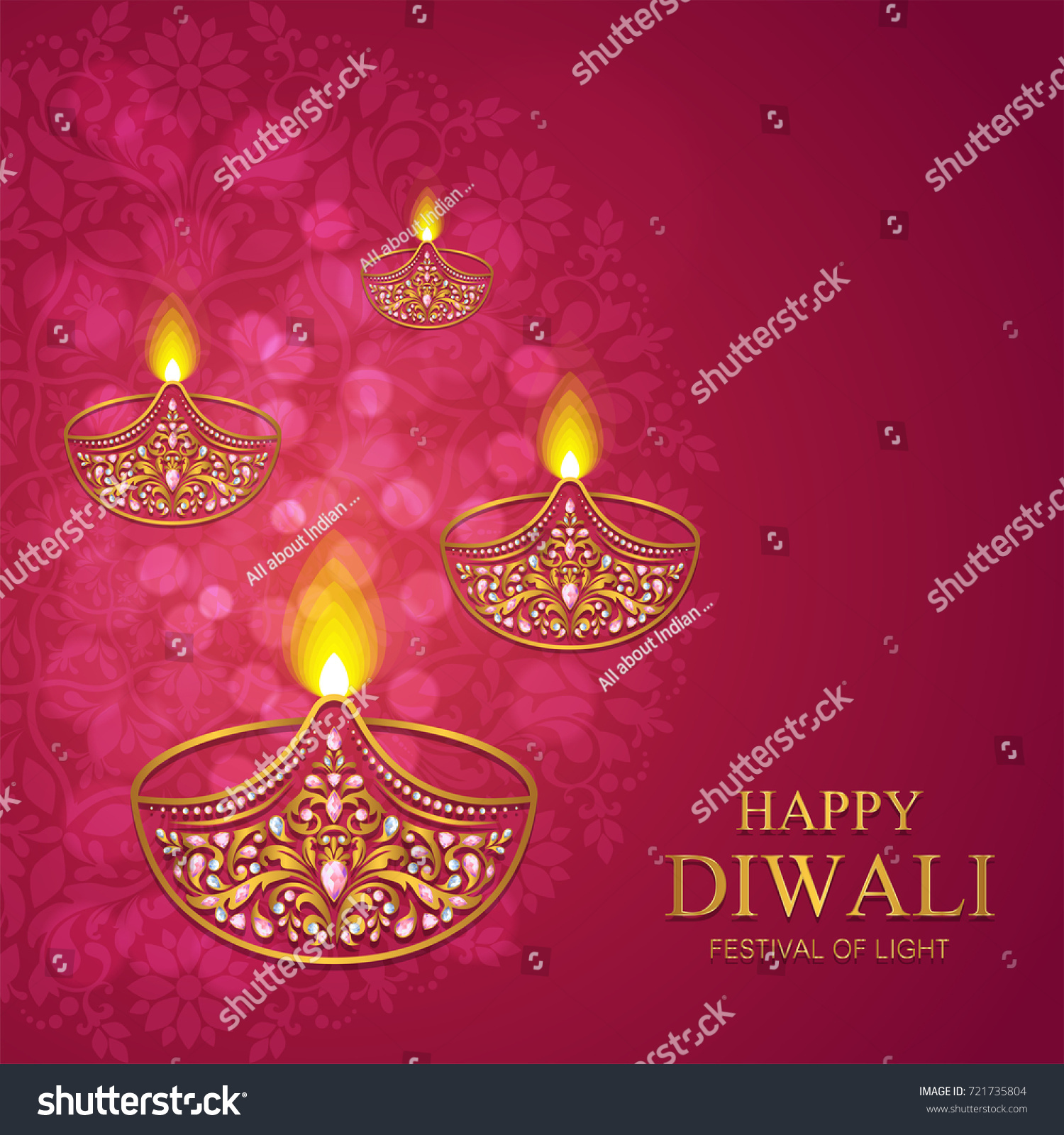 Happy Diwali Festival Card With Gold Patterned And Crystals On Paper
