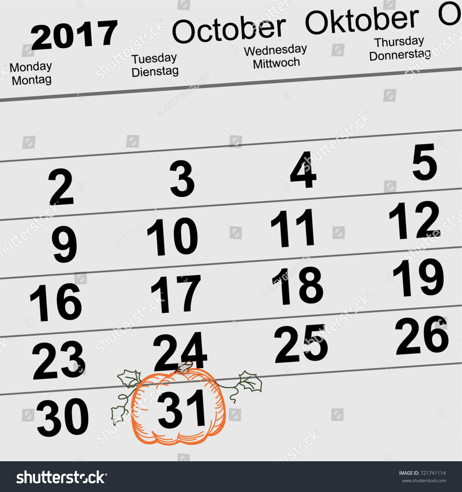 31 October 2017 Halloween Calendar Date Stock Vector 721741114 ...