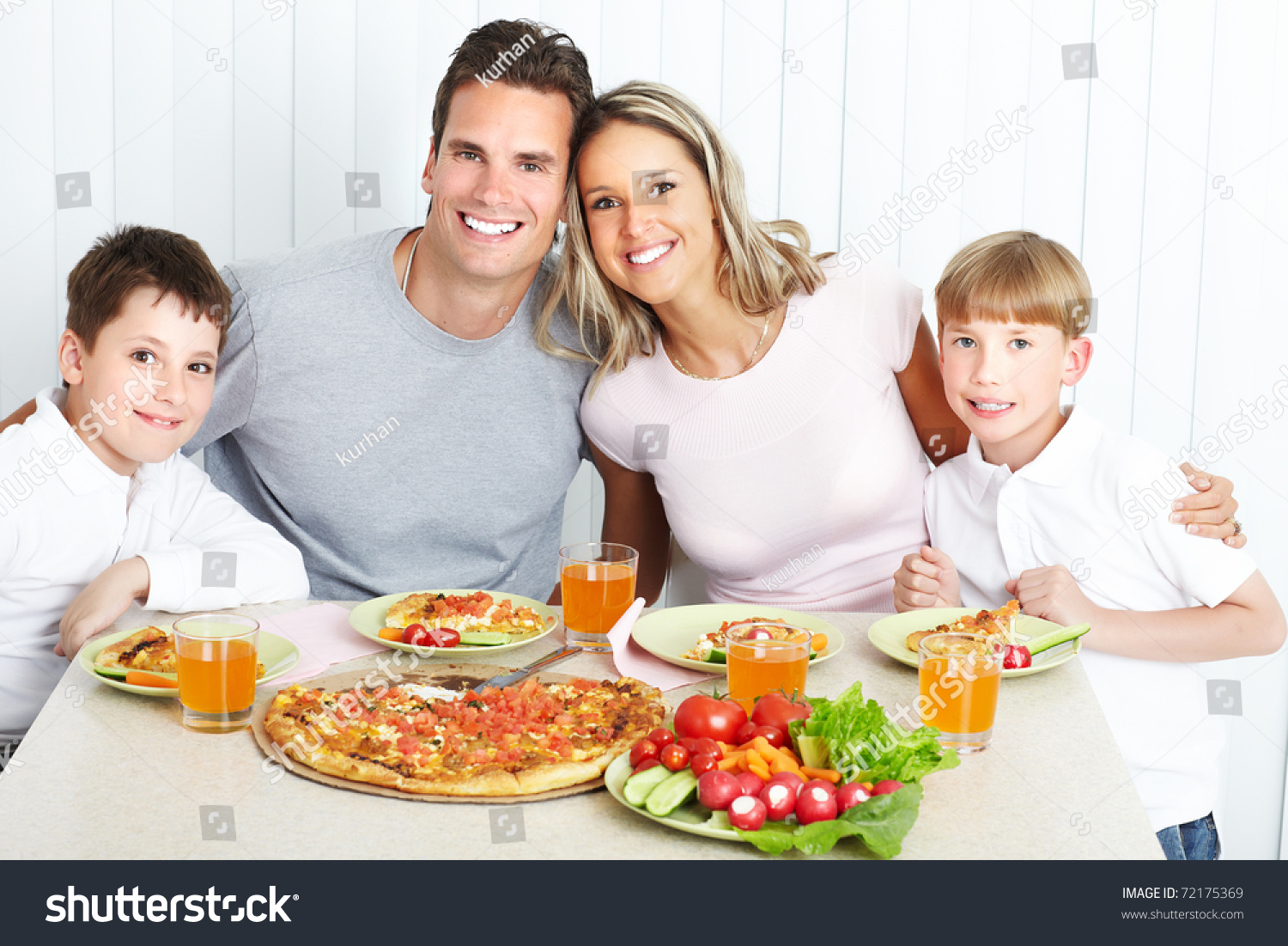 Family Dinner Father Mother Children Eating Stock Photo ...