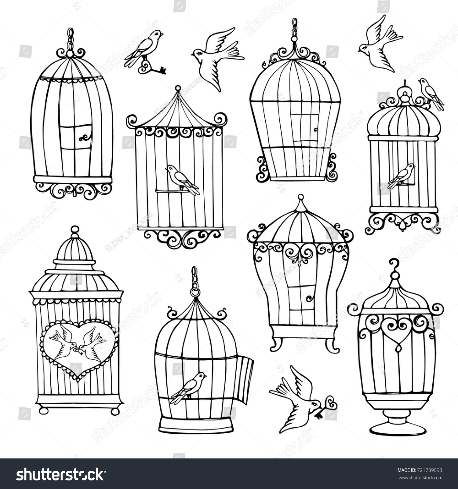 vector seamless pattern with hand drawn birds in cages silhouettes Dove Cage Color vector seamless pattern with hand drawn birds in cages silhouettes ez canvas