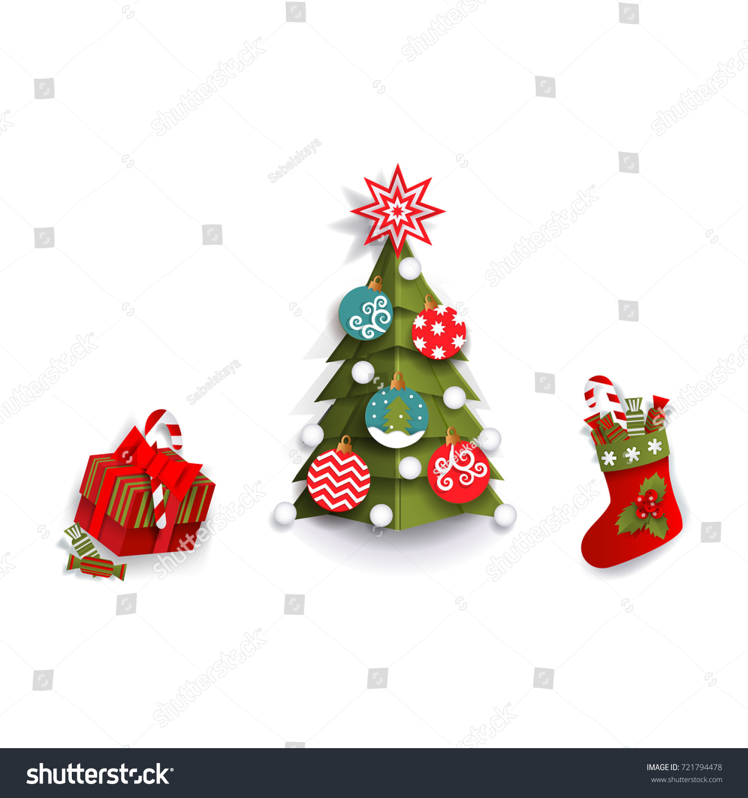 Paper Cut Christmas Tree Stocking Present Stock Vector (Royalty Free ...