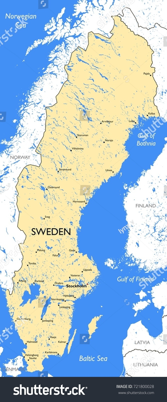 Sweden Map Vector Detailed Color Sweden Stock Vector - Sweden map helsingborg