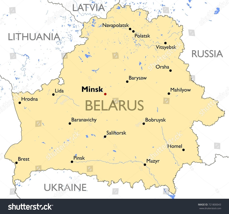 Belarus Map Vector Detailed Color Belarus Stock Vector 721800043